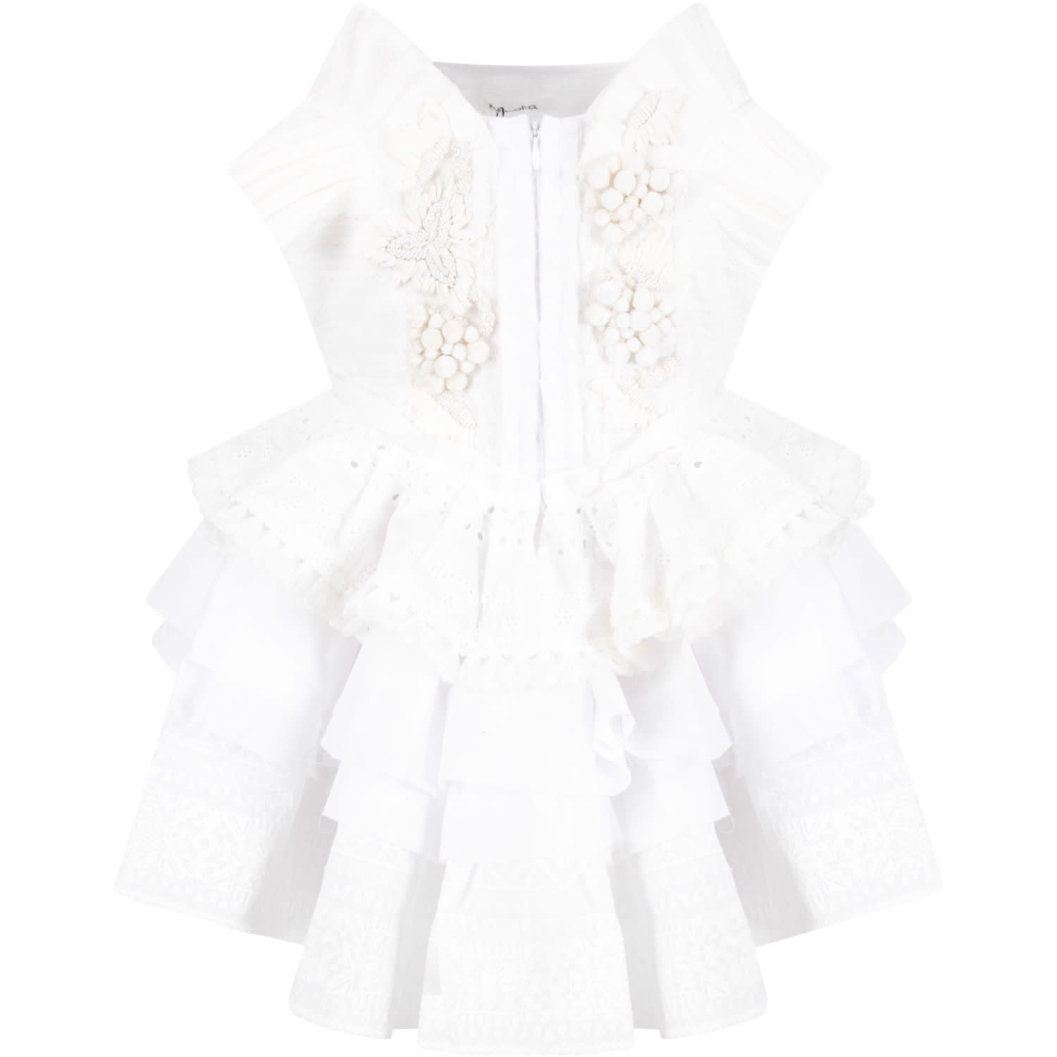 Buy Nikolia White And Ivory blanca Girl Dress online, shop Nikolia with free shipping