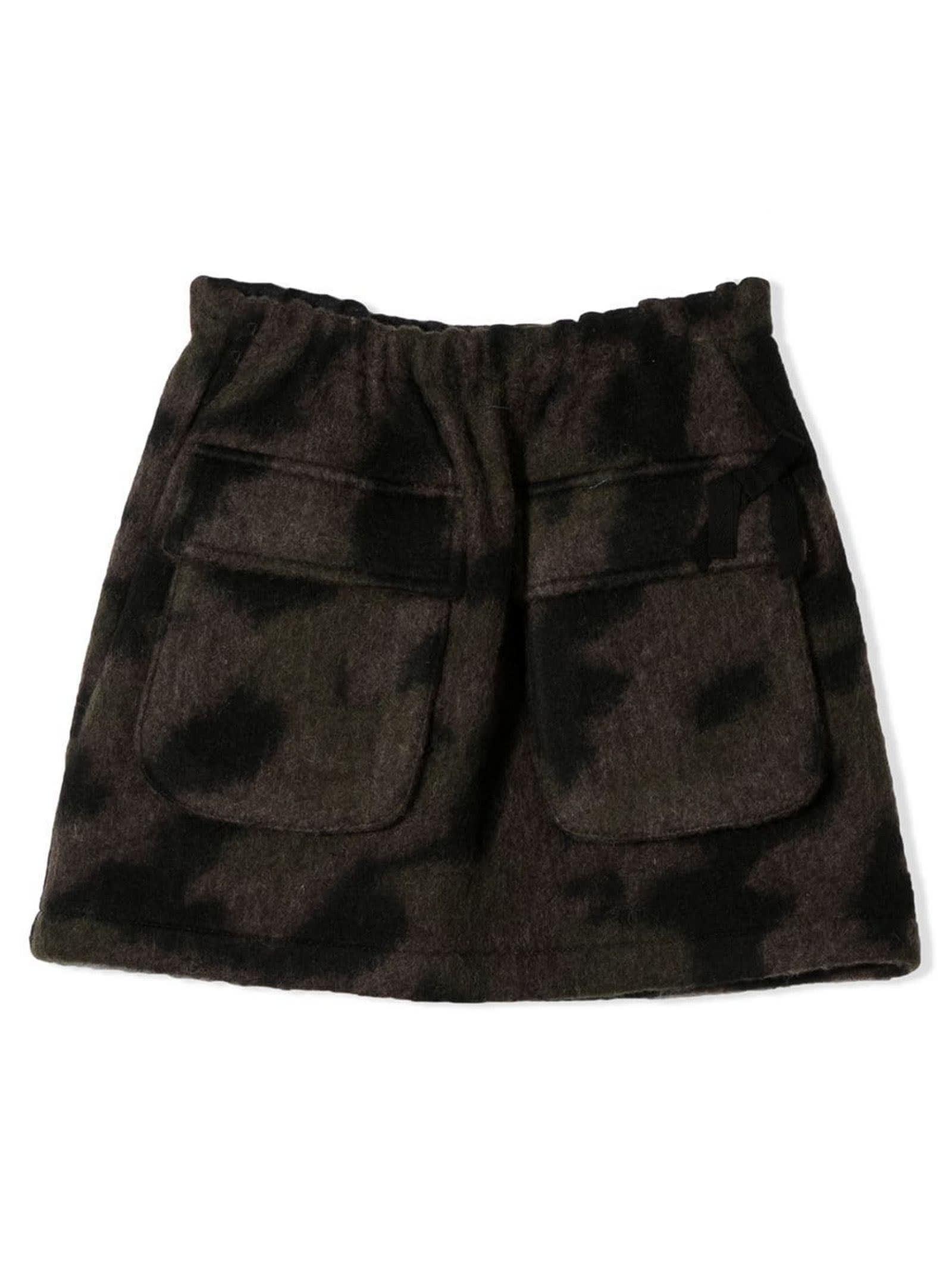 Green Camouflage Print Skirt