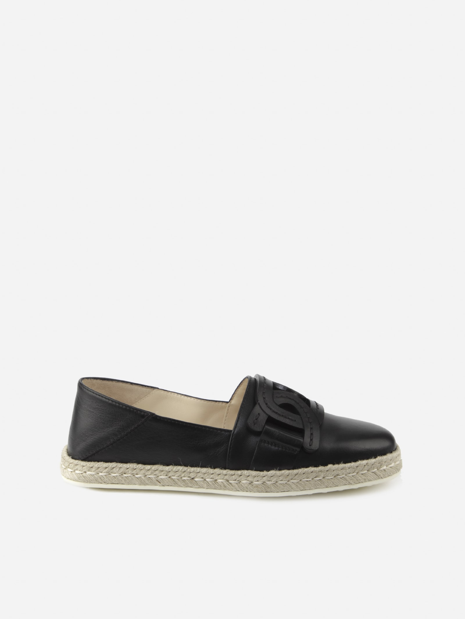 Tods Slip On With Chain Detail In Tone-on-tone Leather