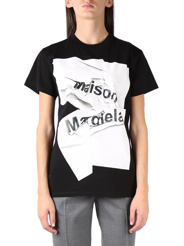 Maison Margiela BLACK COTTON CRUMPLED LOGO-PRINT T-SHIRT