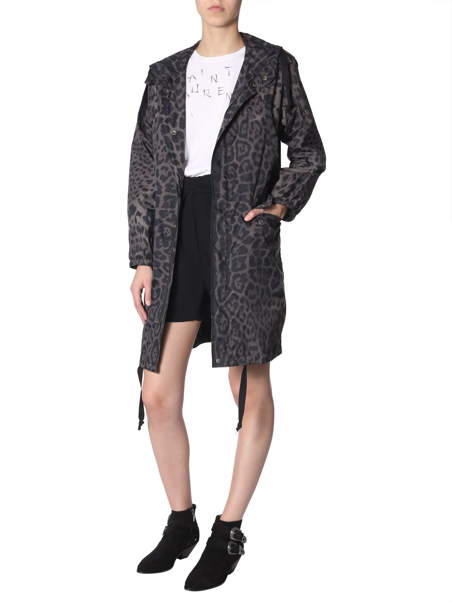 Saint Laurent Light Parka With Animalier Print