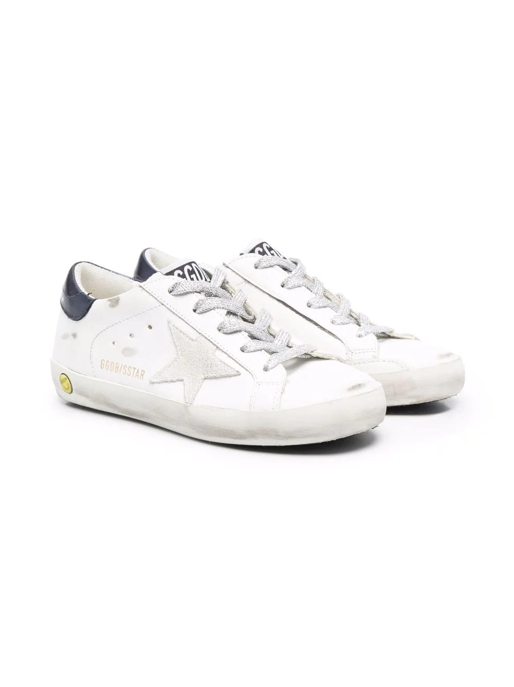 Golden Goose Junior White And Navy Blue Super-star Sneakers With Lurex Laces