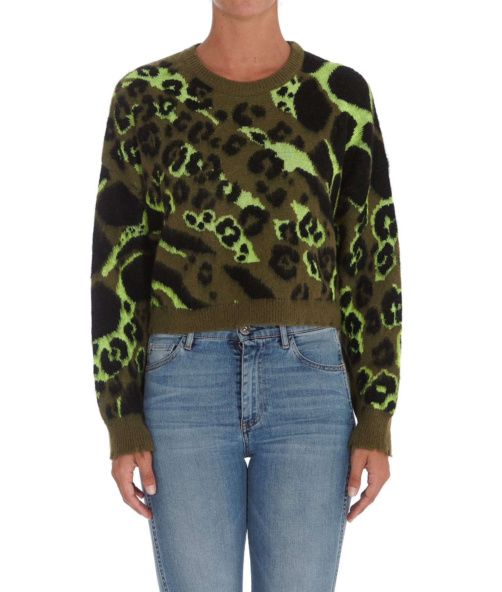 Camou Cropped Sweater