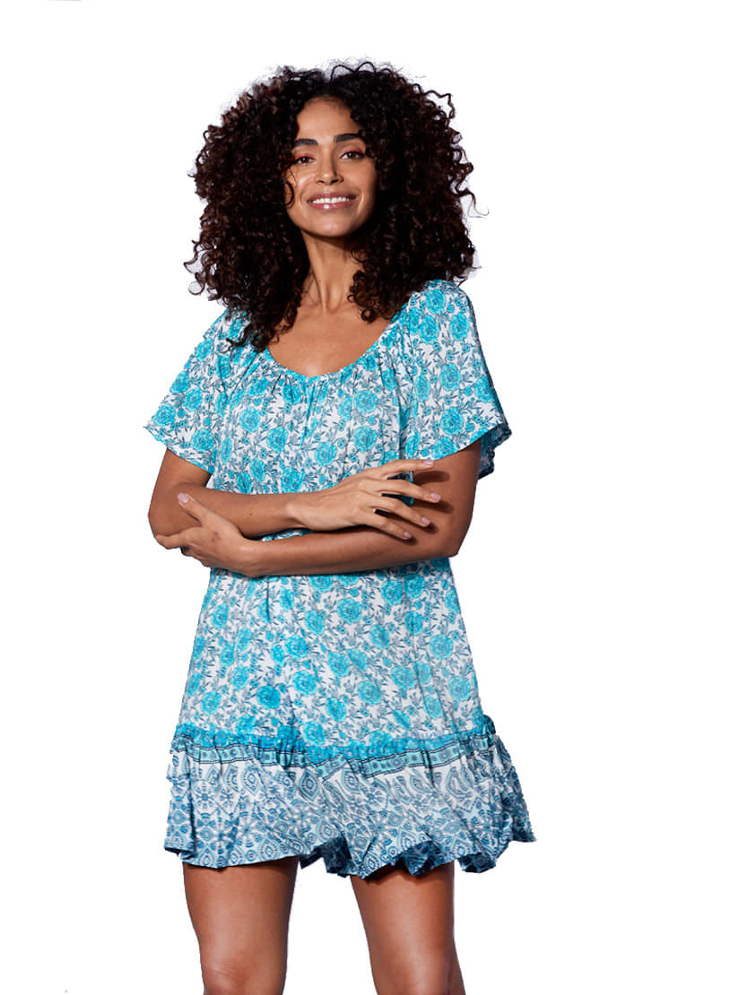 Buy Gipsy Flowers Print Short Dress online, shop MC2 Saint Barth with free shipping