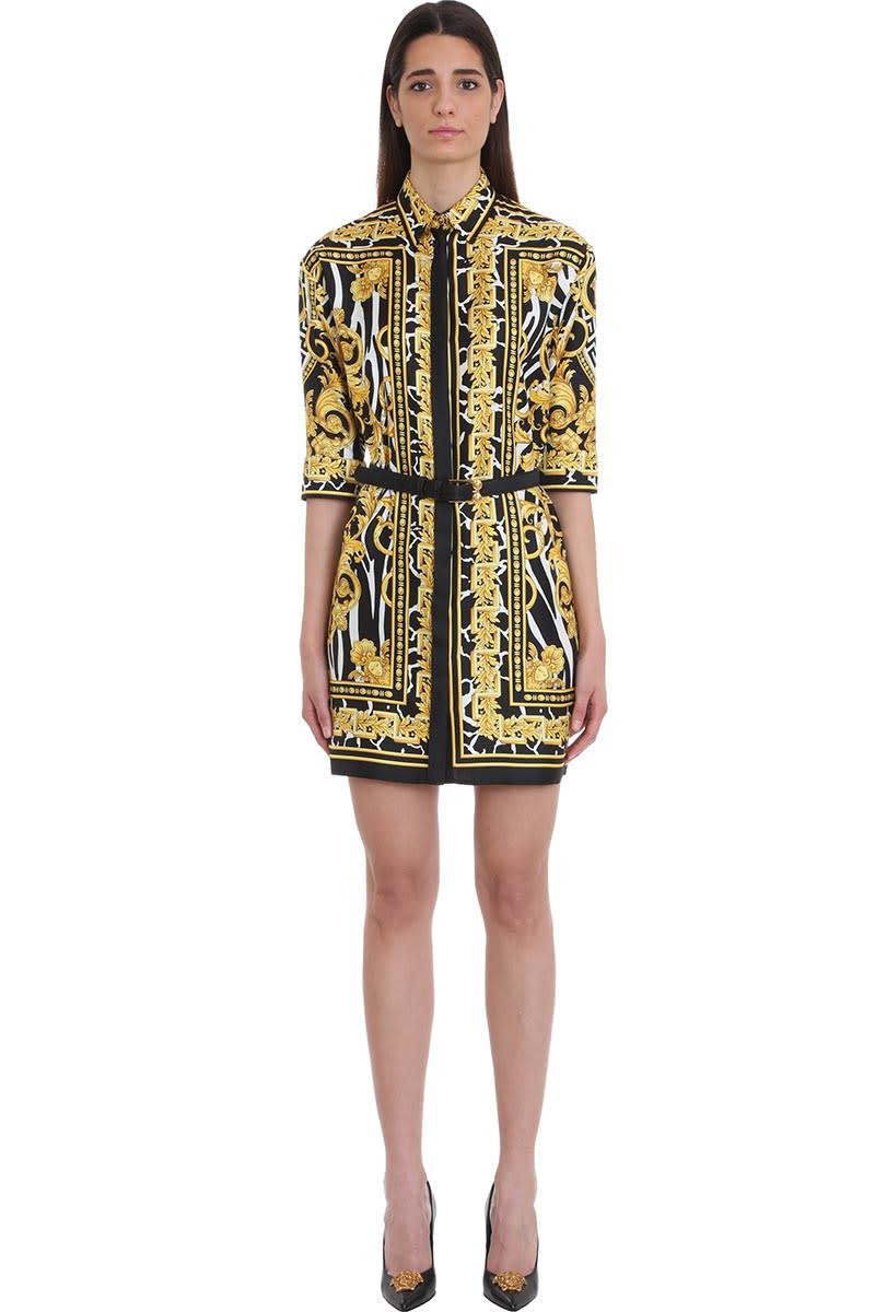 Versace Printed Belted Silk Shirt Dress