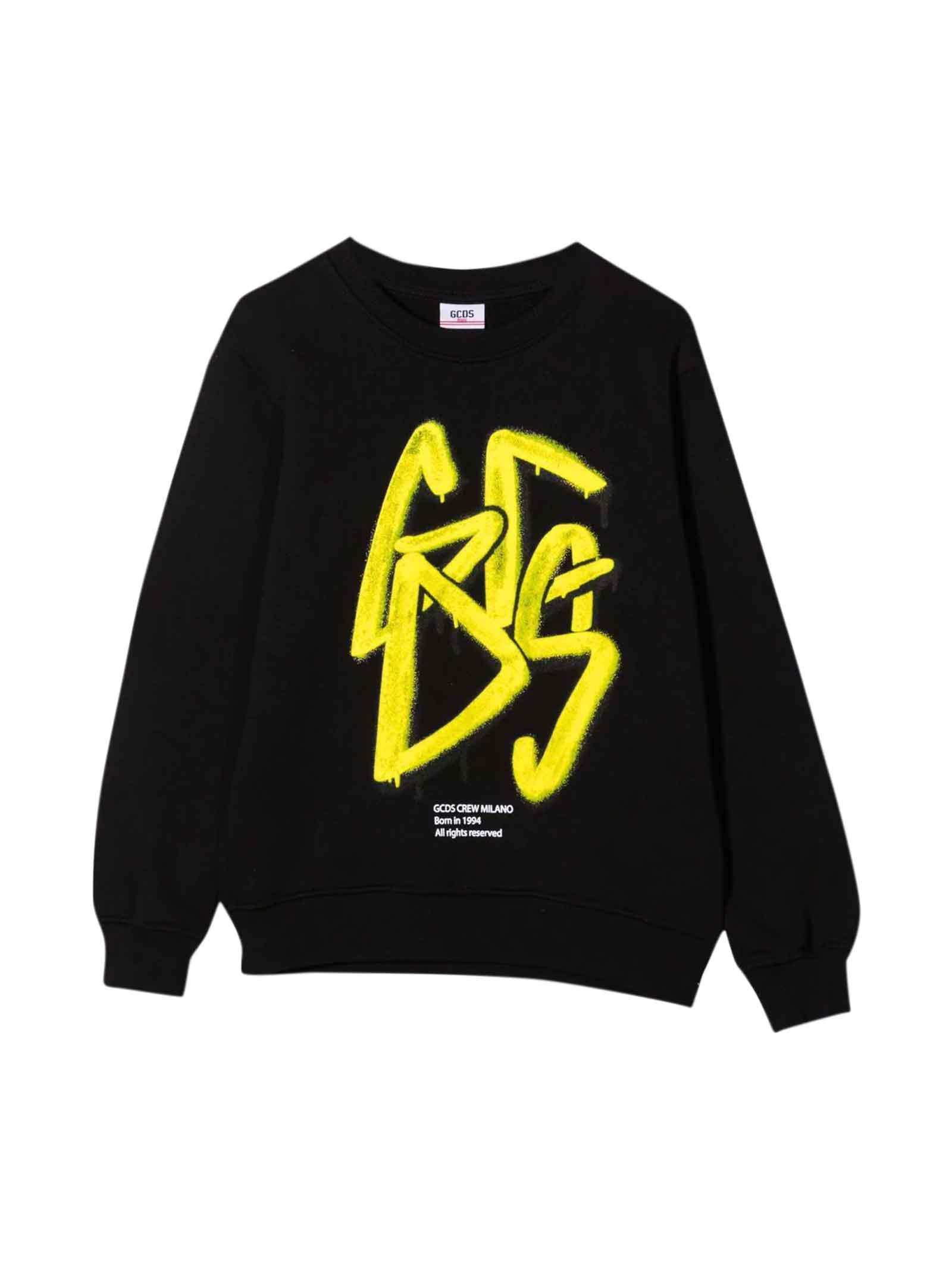 Black Teen Sweatshirt With Yellow Print Diesel Kids