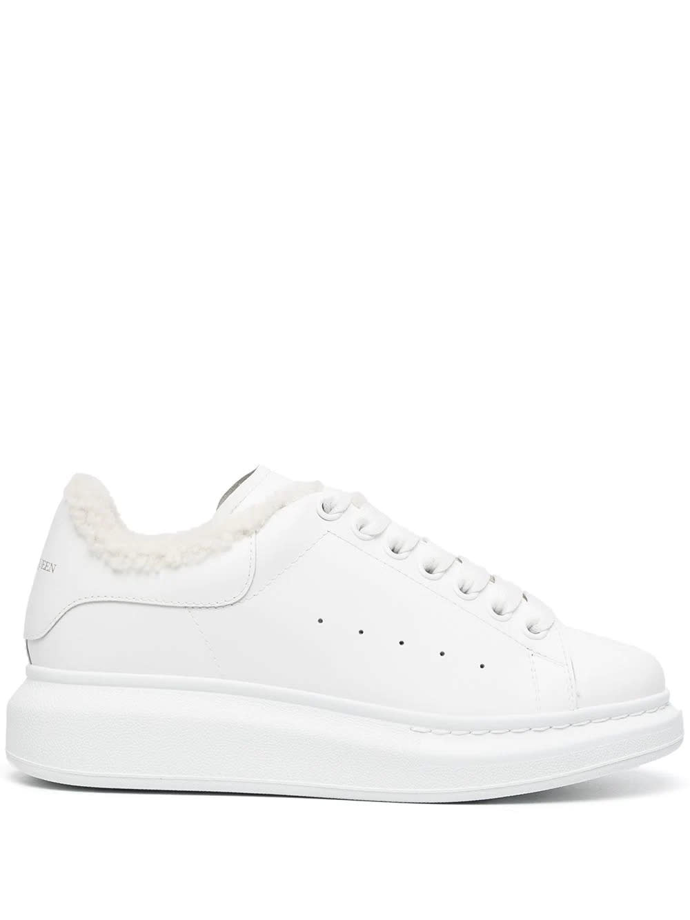 Alexander McQueen Woman White Oversize Sneakers With Shearling Lining