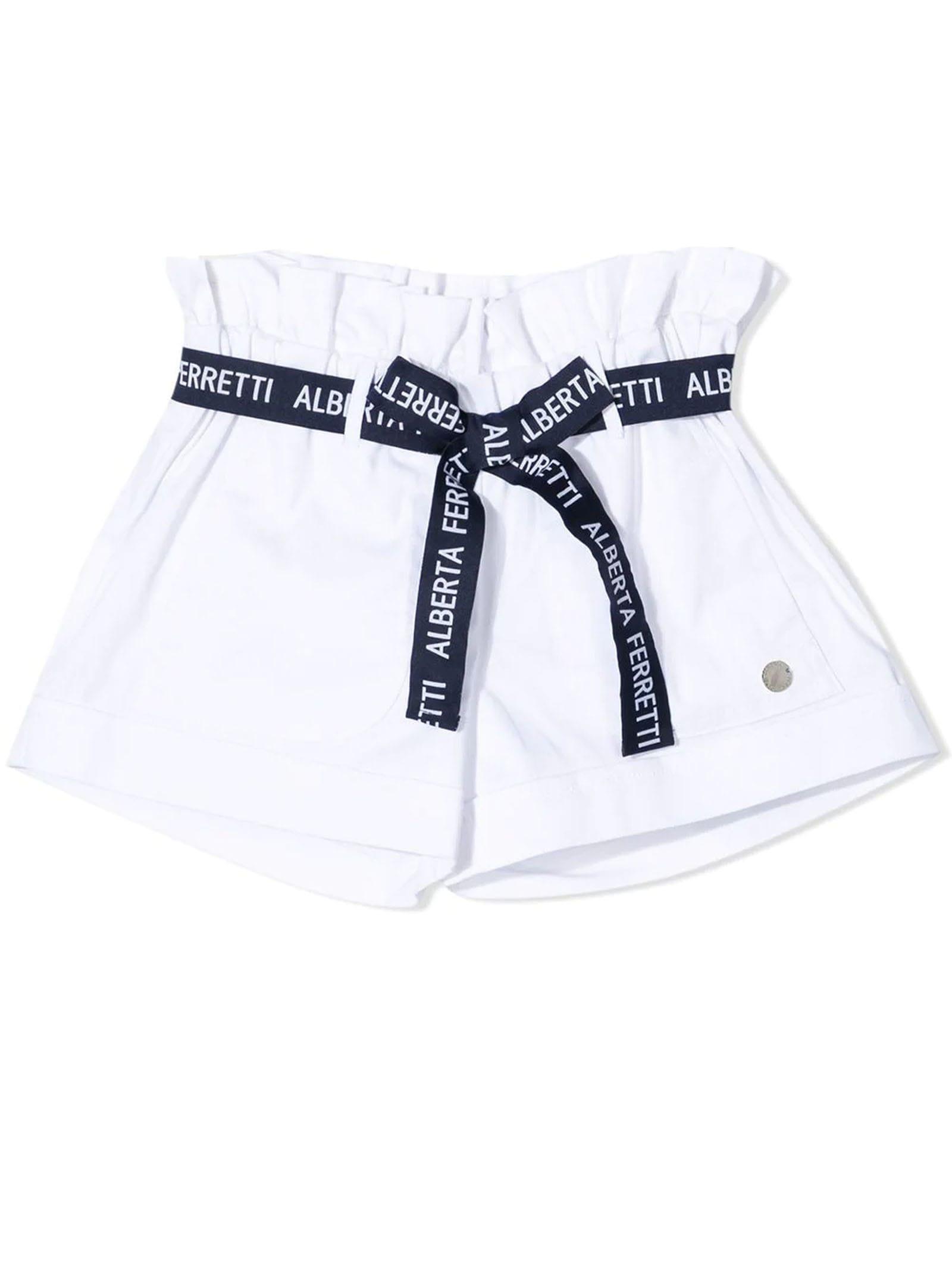 Alberta Ferretti Cottons WHITE STRETCH-COTTON SHORTS
