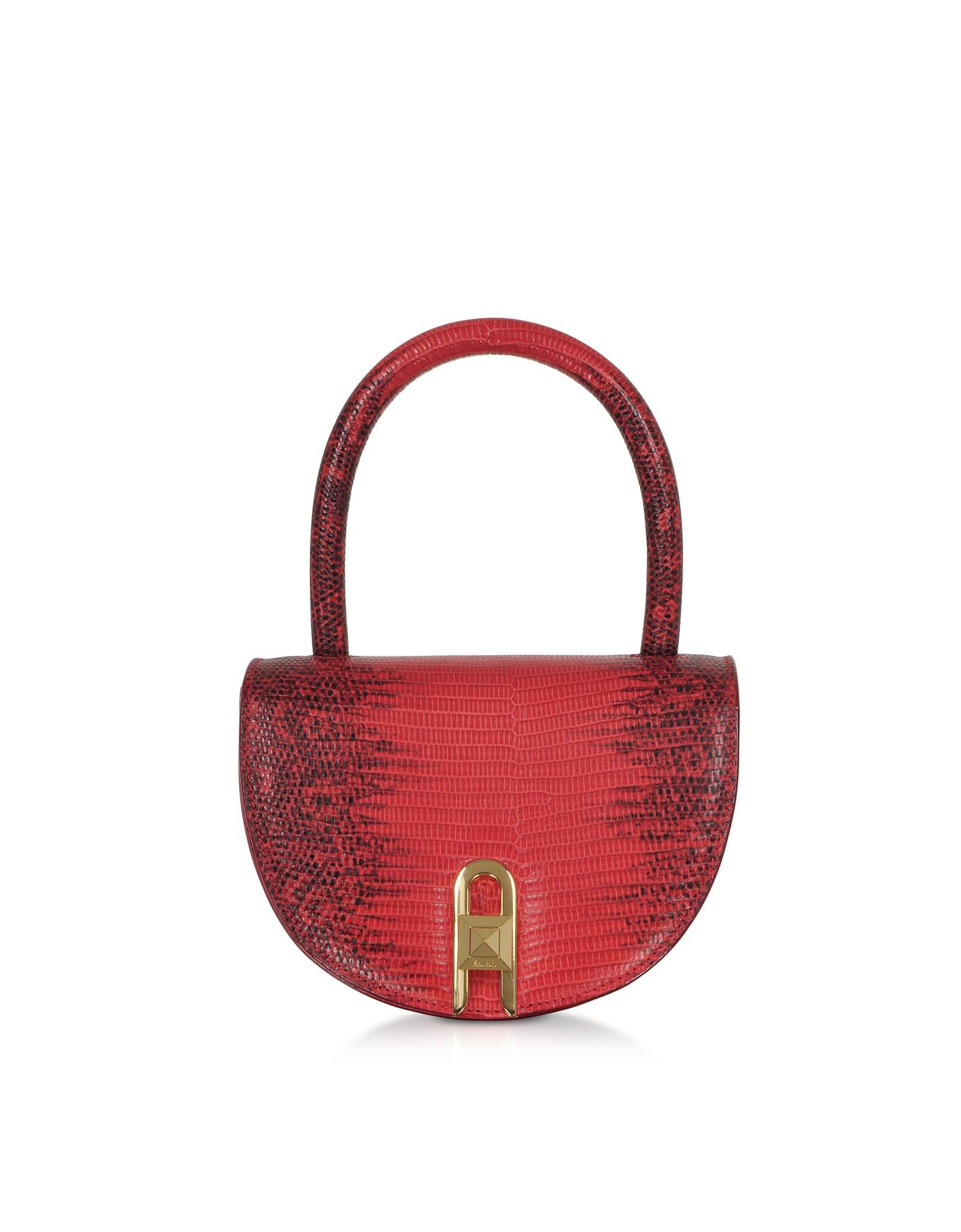 Salar Winnie Lizard Cherry Embossed Leather Top Handle Bag