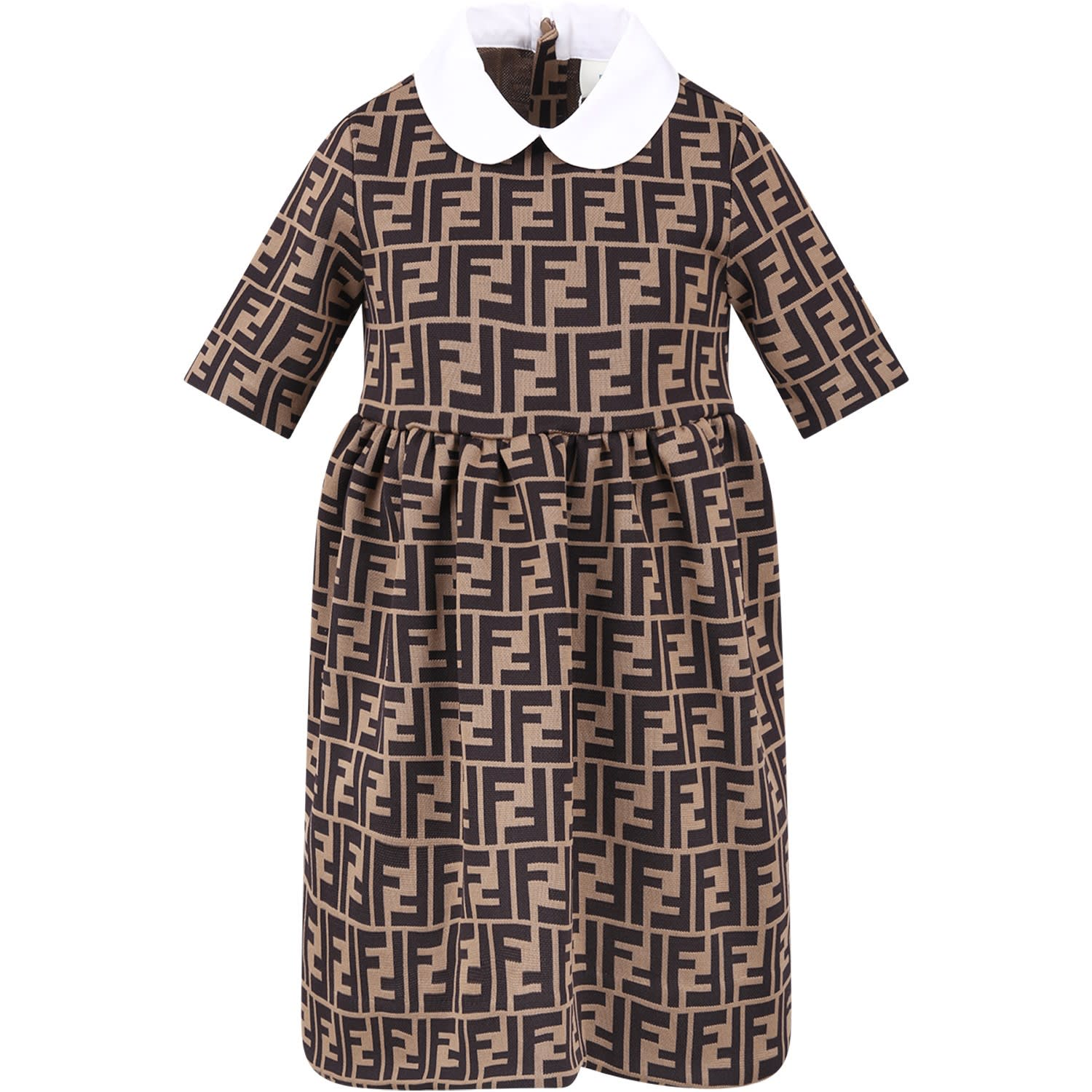 Fendi Light Brown Girl Dress With Double Ff