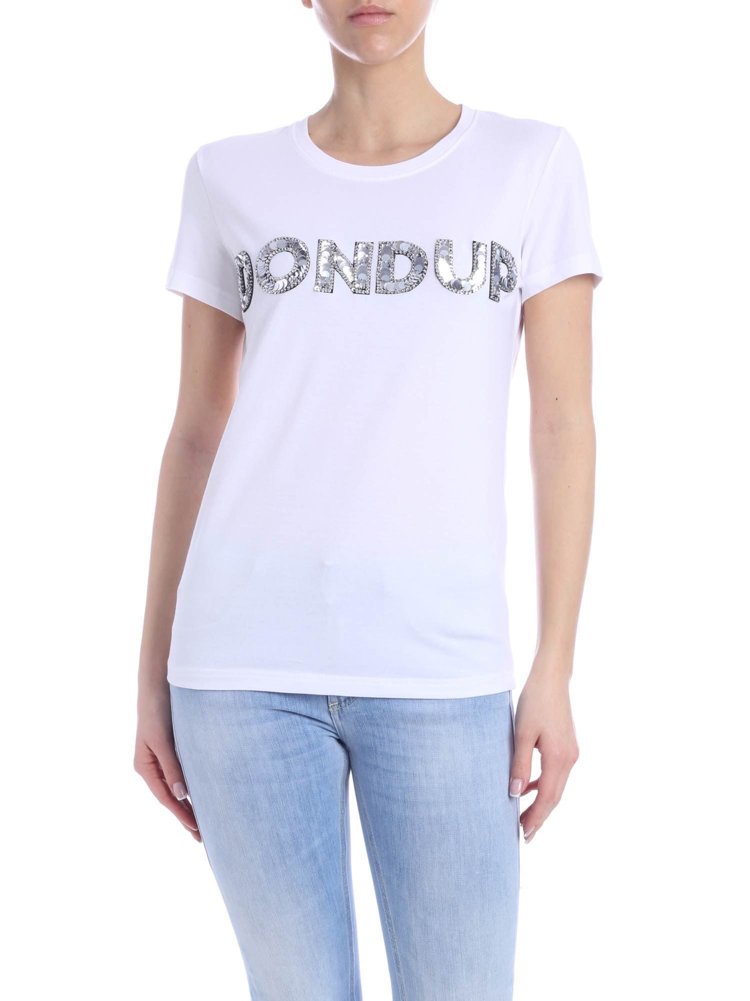 Don Dup Sequins Logo Tee