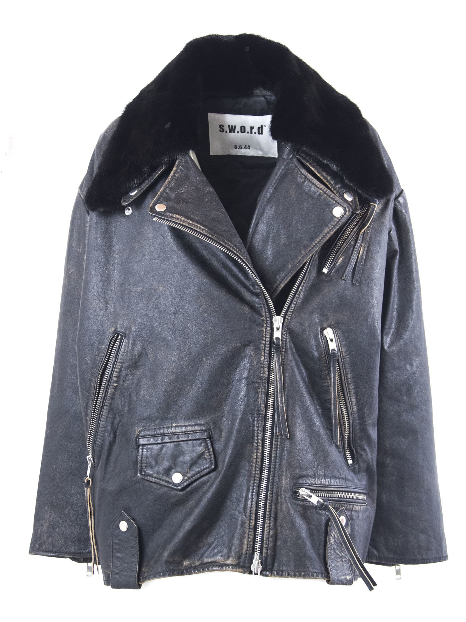S.W.O.R.D 6.6.44 Black Lambskin Zip-up Biker Jacket