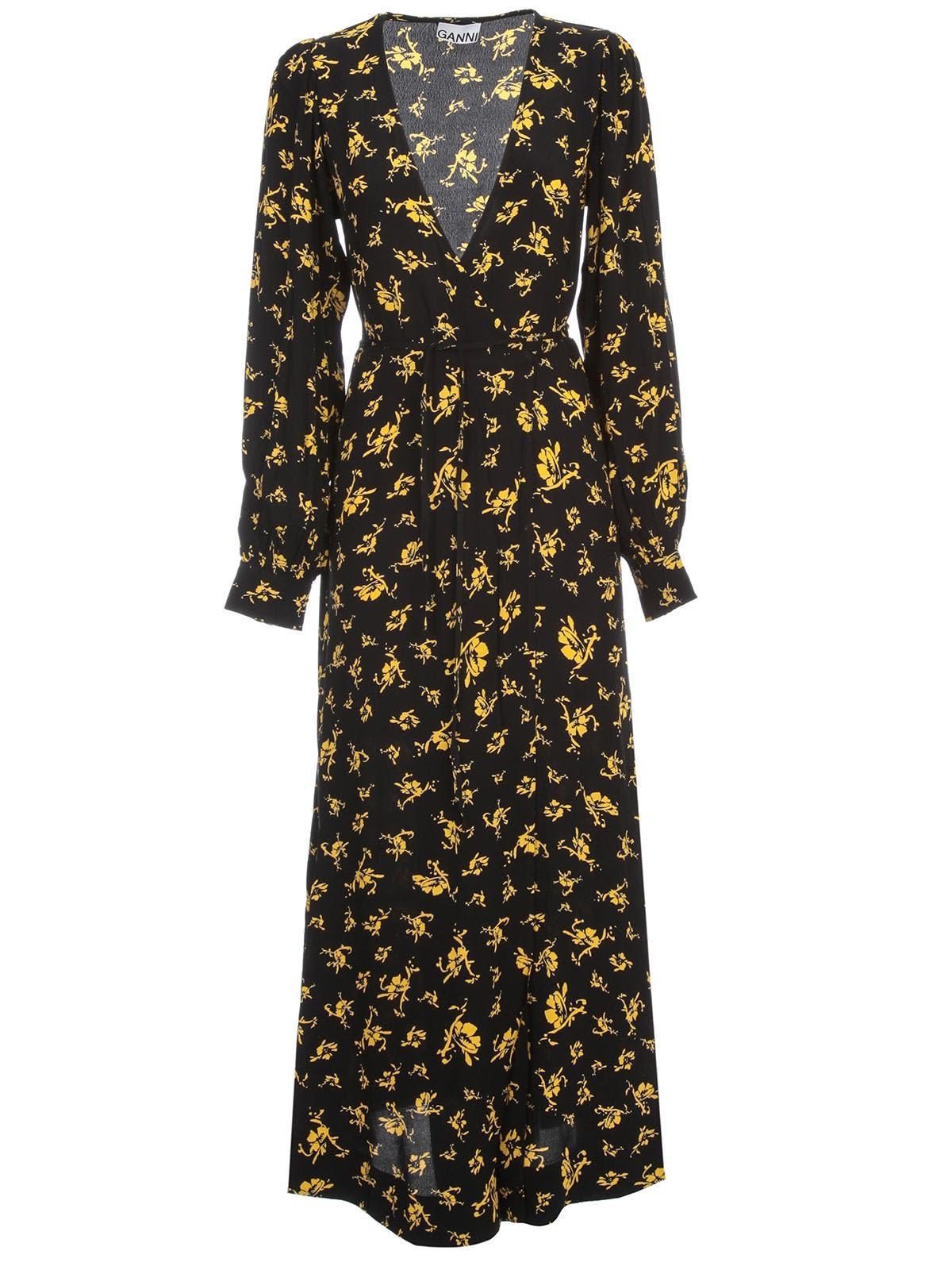 Buy Ganni Printed Crepe Dress L/s V Neck online, shop Ganni with free shipping