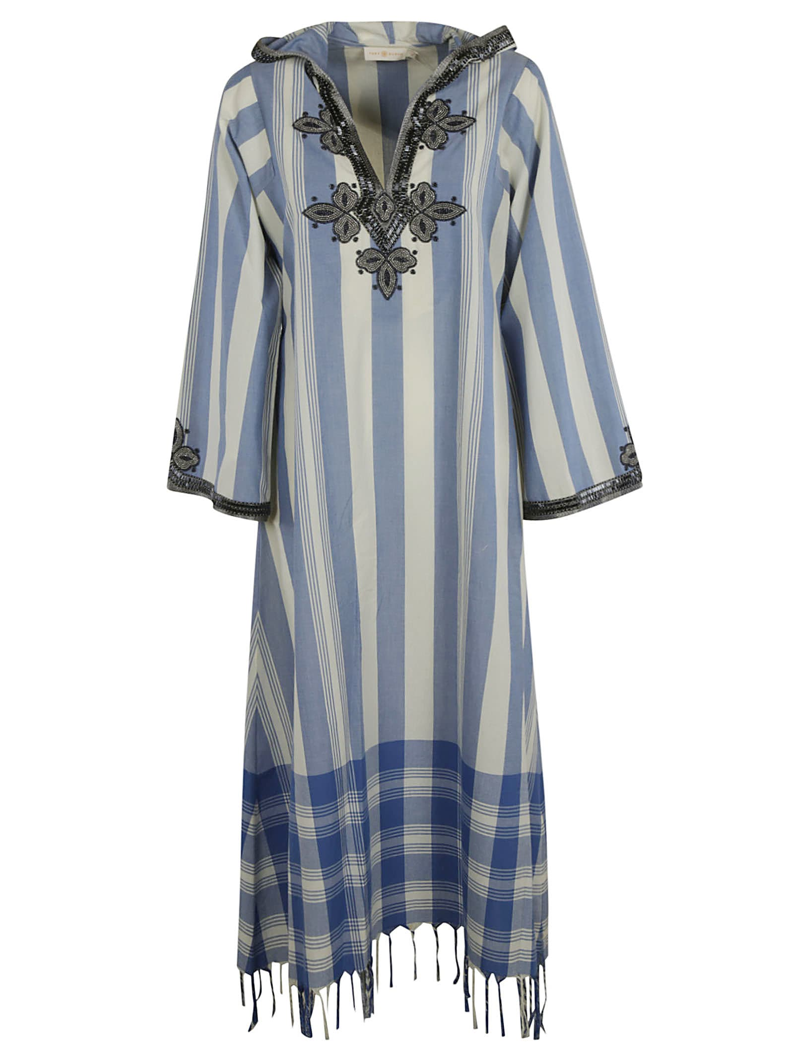 Buy Tory Burch Striped Caftan Fringed Dress online, shop Tory Burch with free shipping