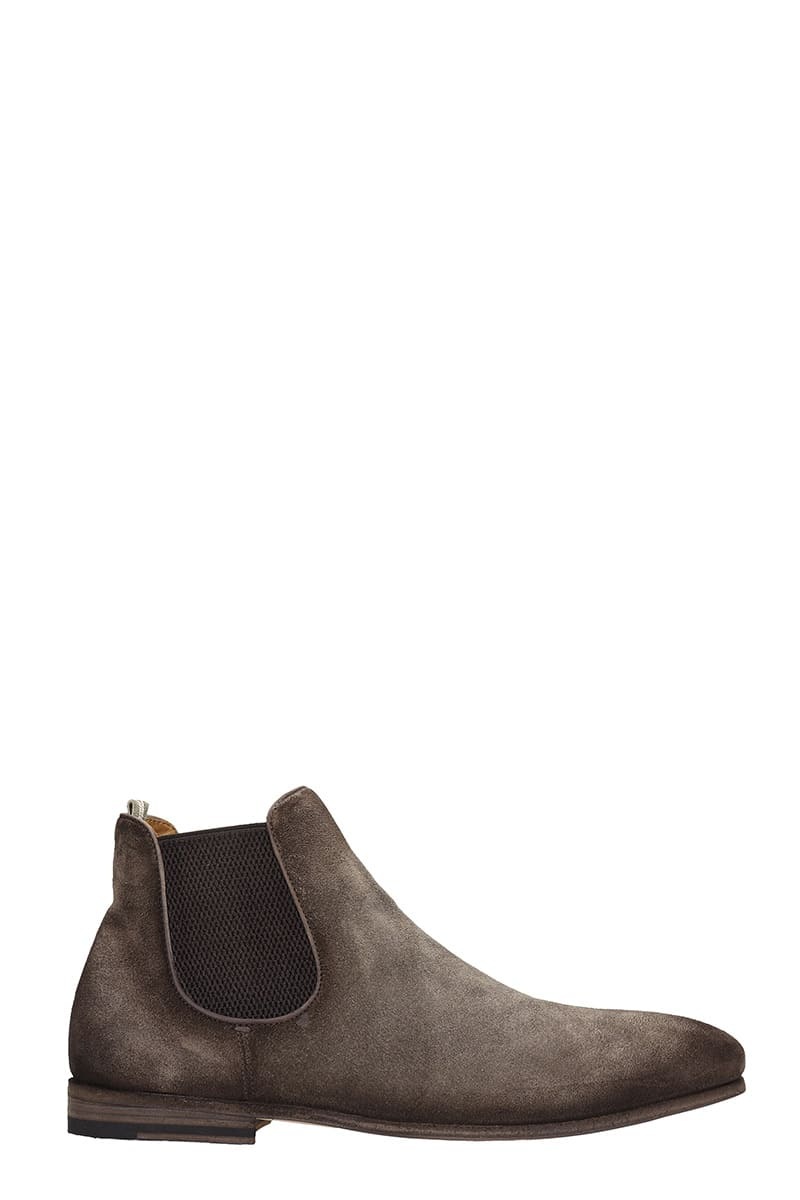 Officine Creative Revien 003 Ankle Boots In Brown Suede
