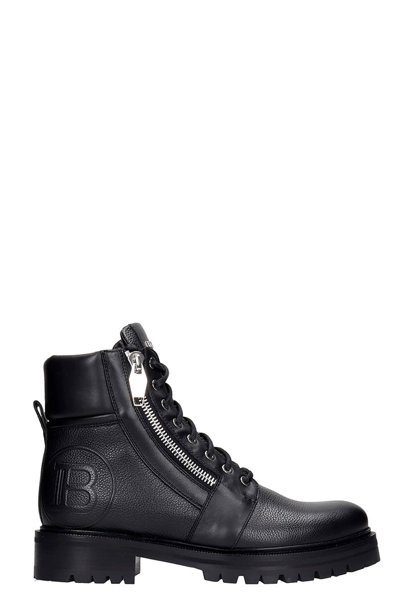 Balmain RANGER COMBAT BOOTS IN BLACK LEATHER