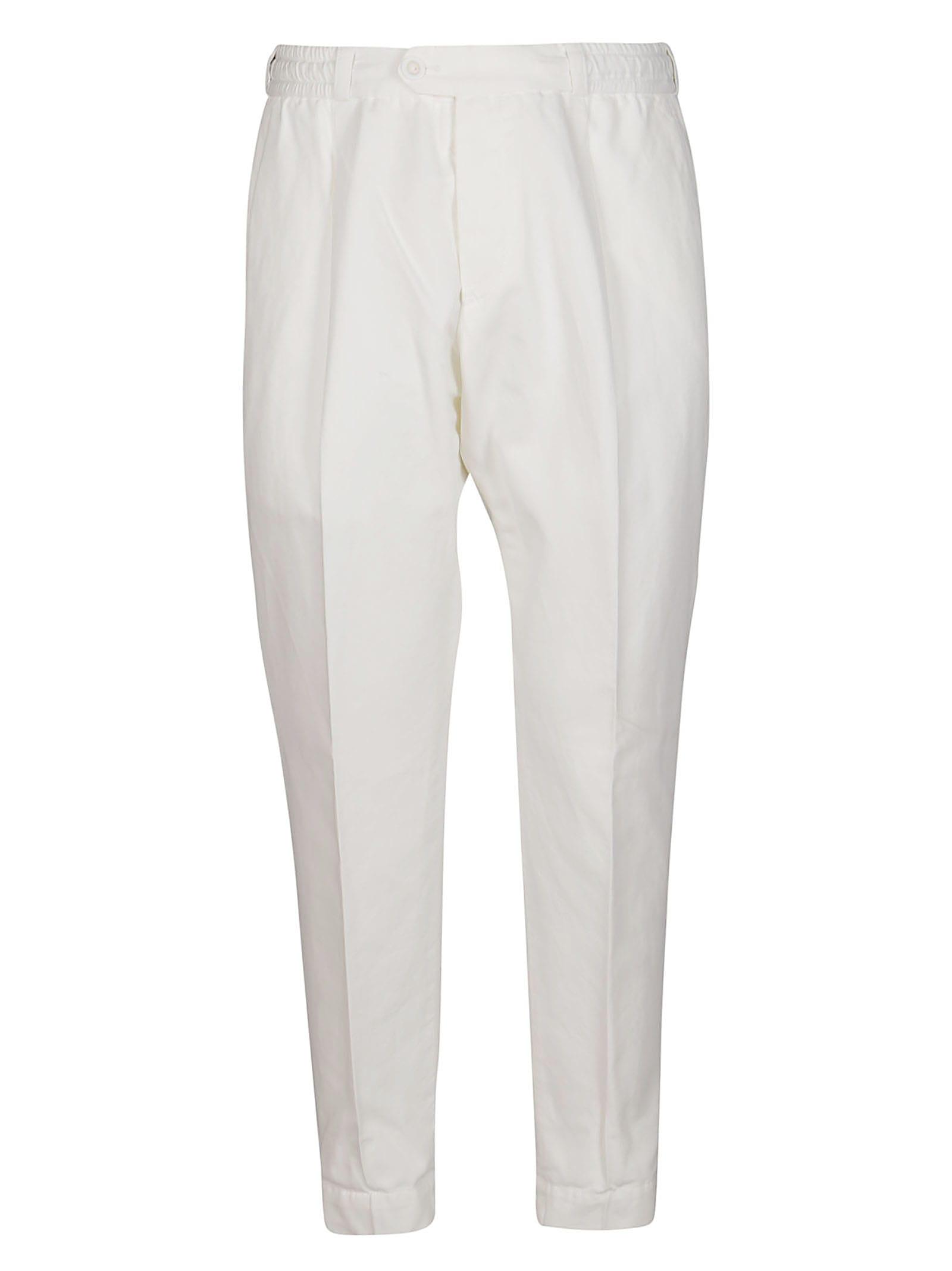 Pt01 Clothing WHITE COTTON-LINEN BLEND TROUSERS