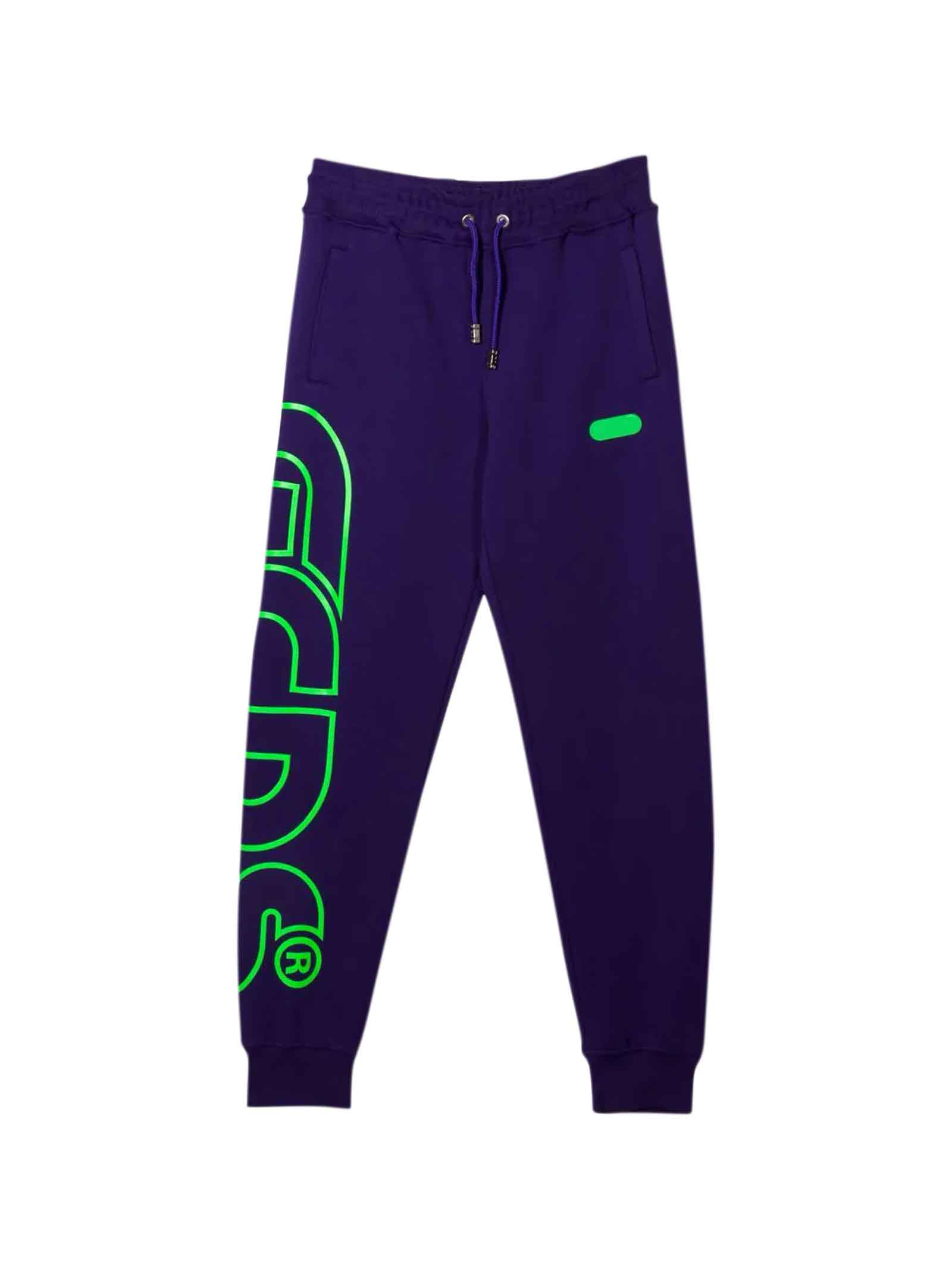 Purple Trousers With Green Print