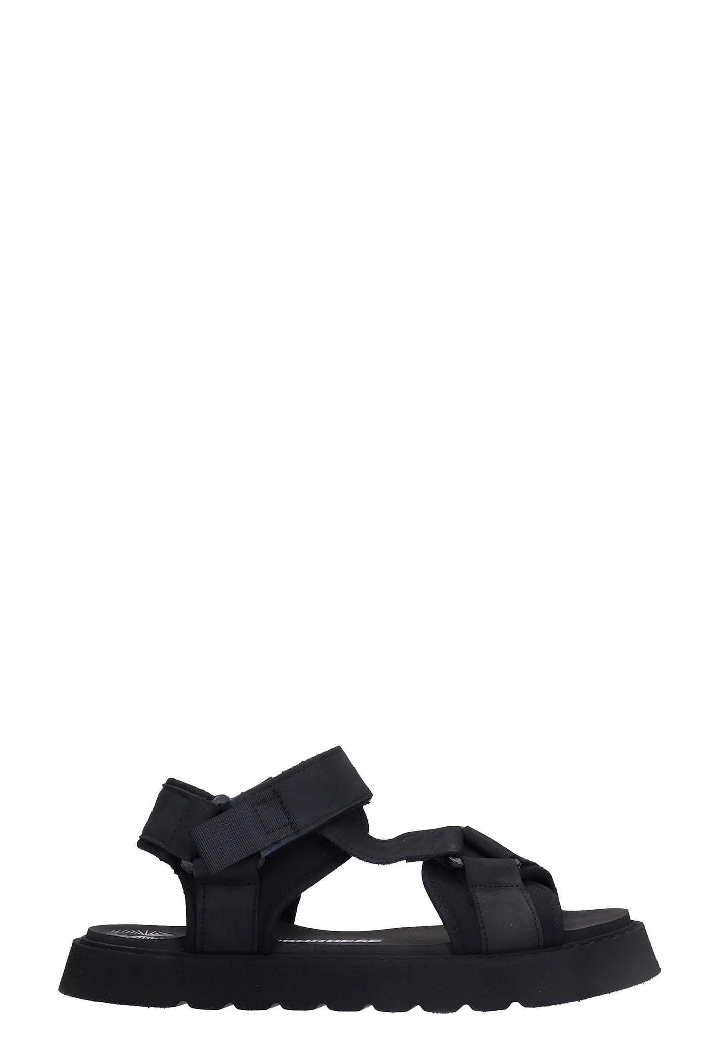 Surf Sandal Flats In Black Synthetic Fibers