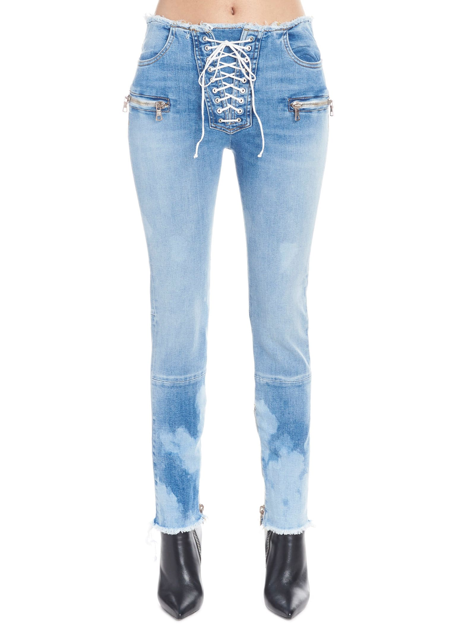 Ben Taverniti Unravel Project skinny Raw Lace Up Jeans