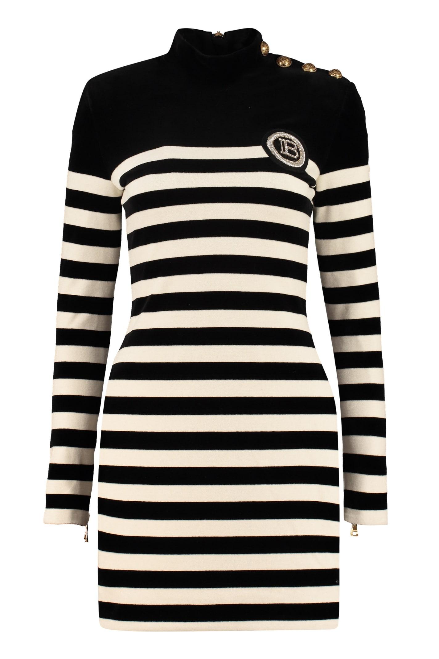 Balmain Striped Knit Dress