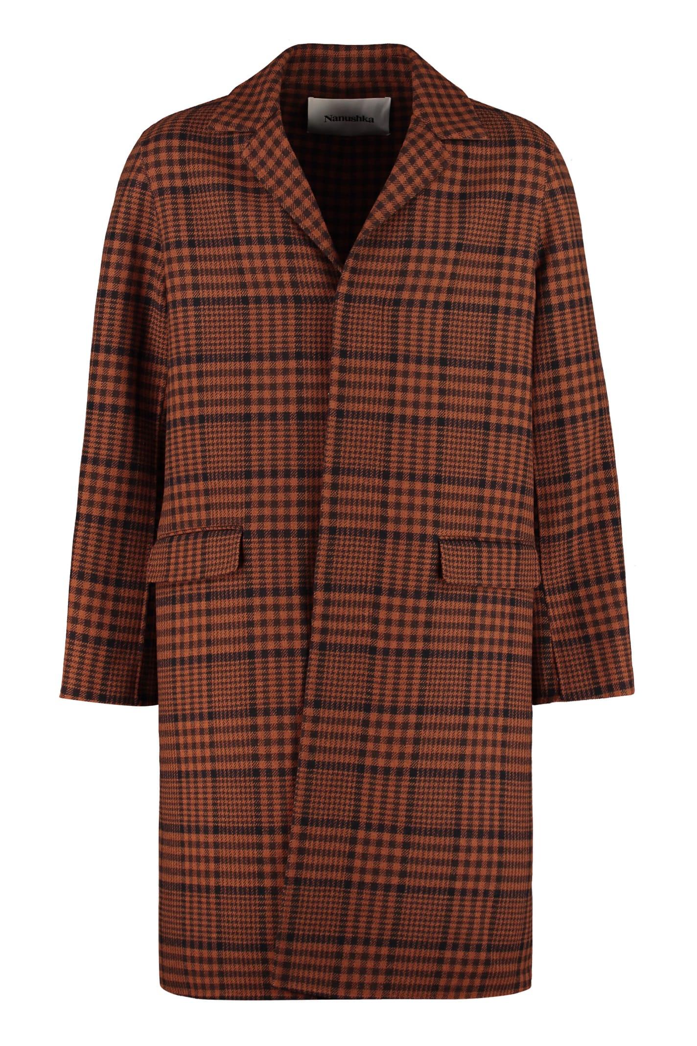 Nanushka Malick Wool Coat In Brown