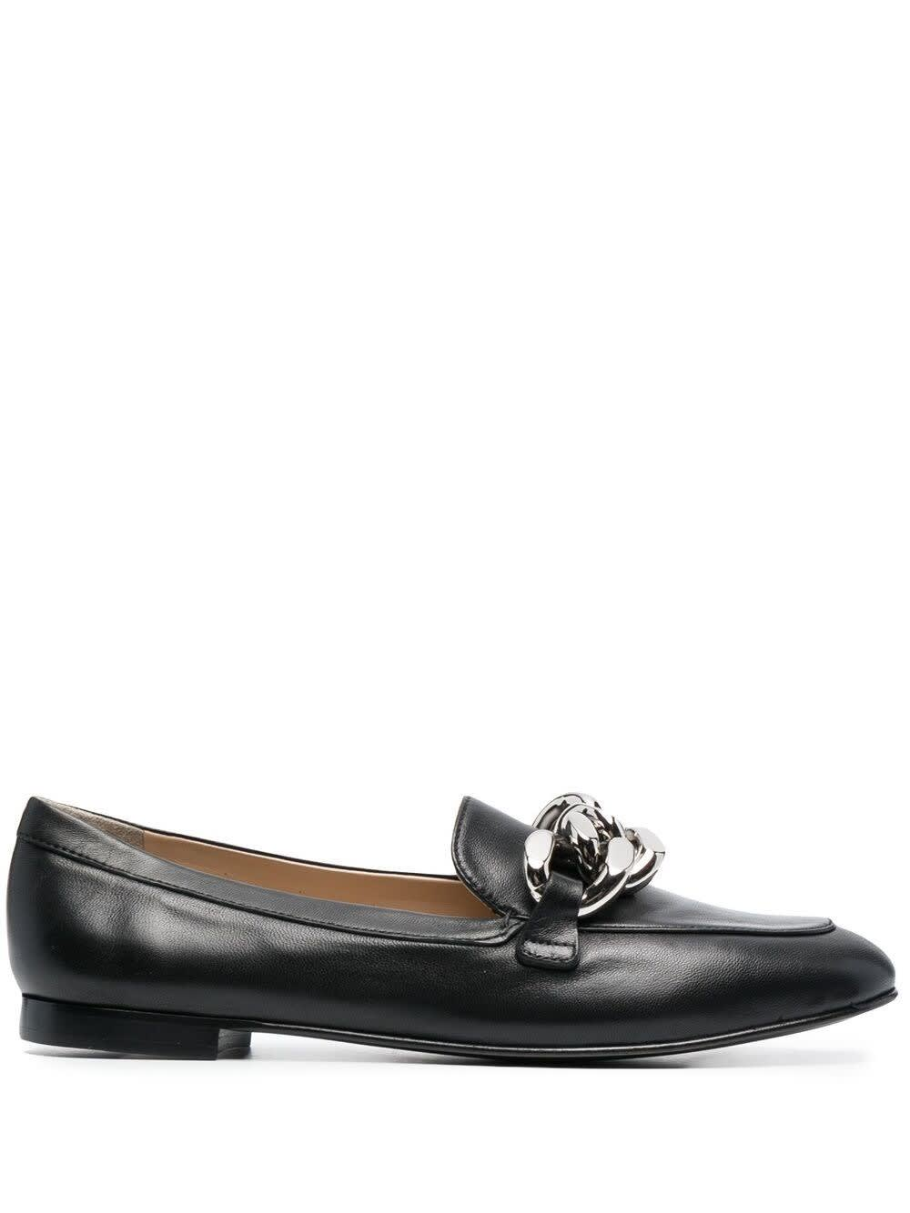 Casadei Shoes LEATHER LOAFERS WITH CHAIN BUCKLE