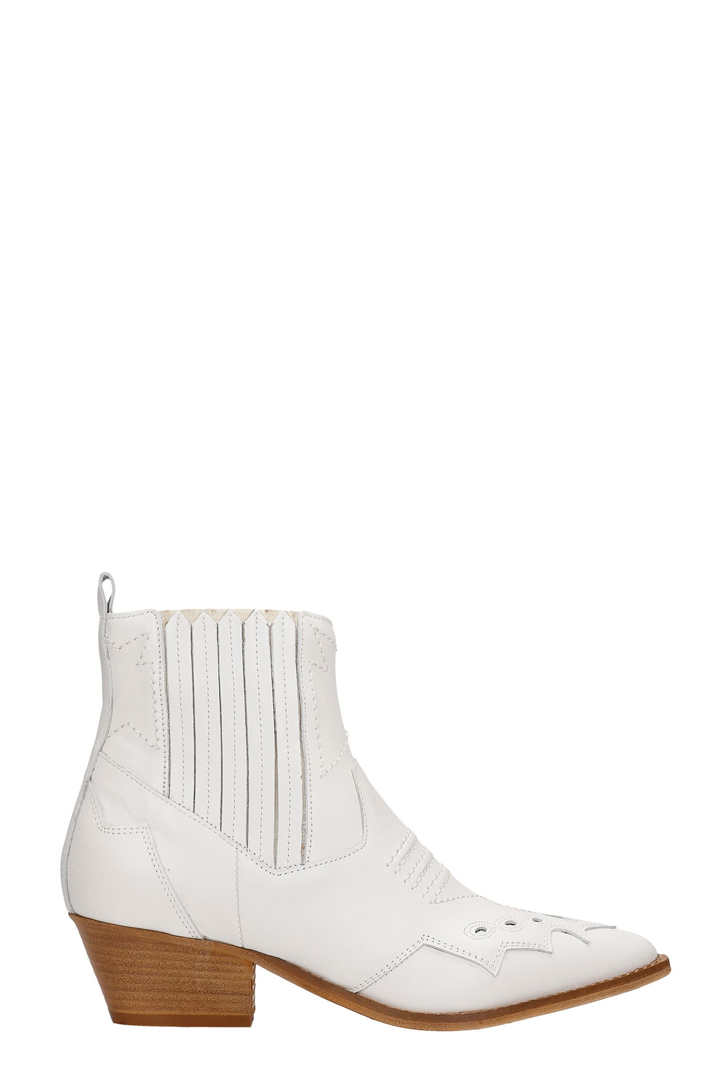 Texan Ankle Boots In White Leather