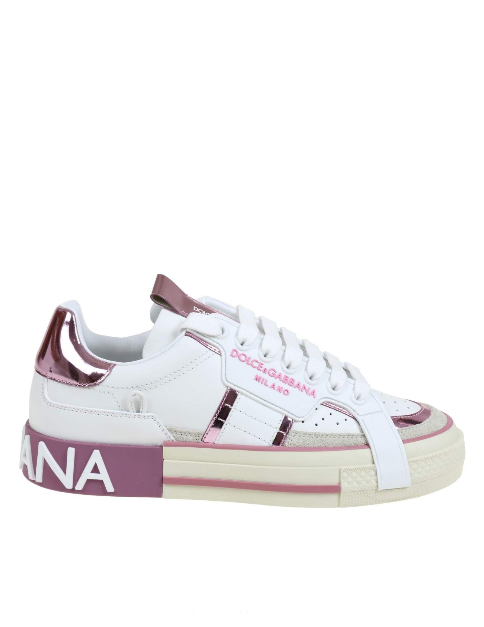 Dolce & Gabbana Custom 2.zero Sneakers In White Leather