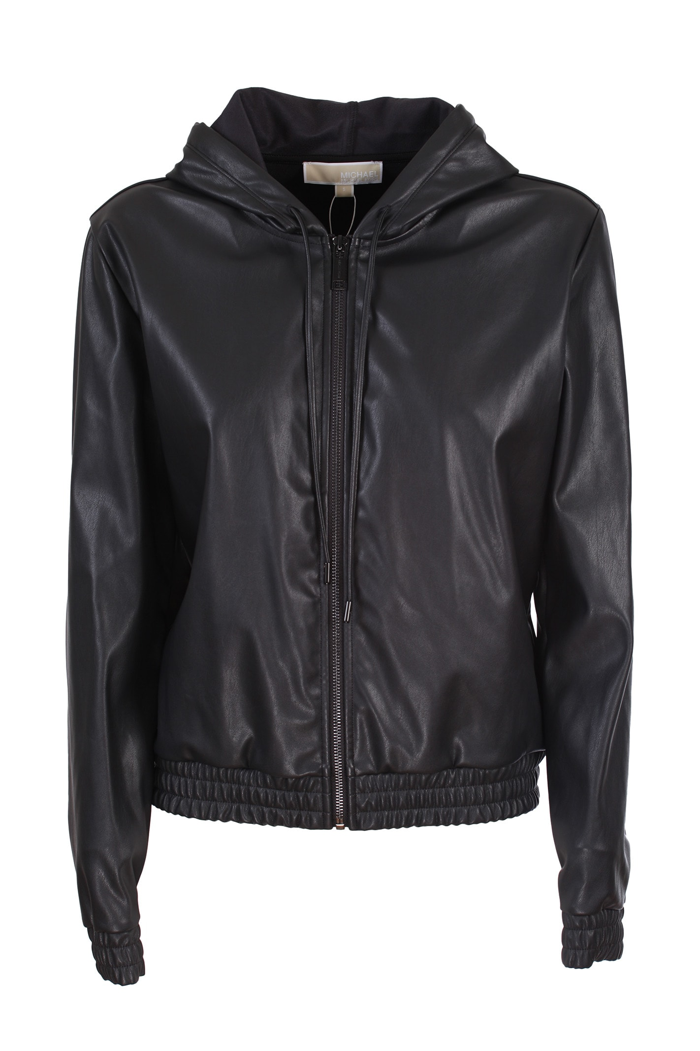 Michael Michael Kors leather look hooded sweatshirt