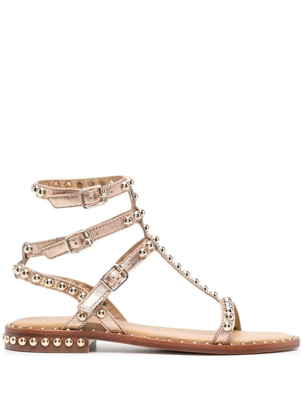 Ash Sandals GOLDEN LEATHER SANDALS WITH STUDS