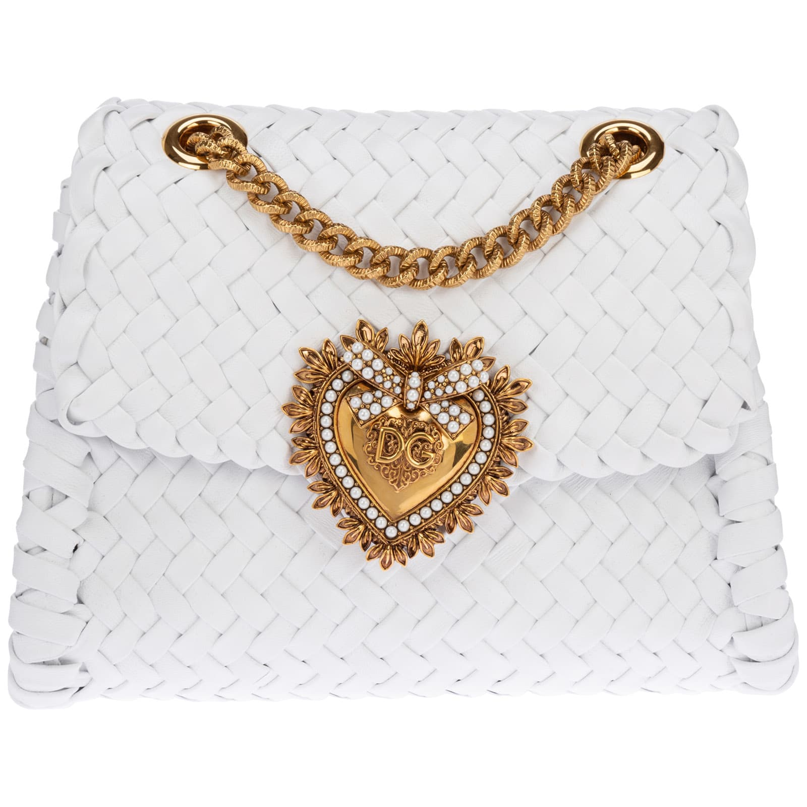 Dolce & Gabbana Devotion Crossbody Bags In Bianco Ottico