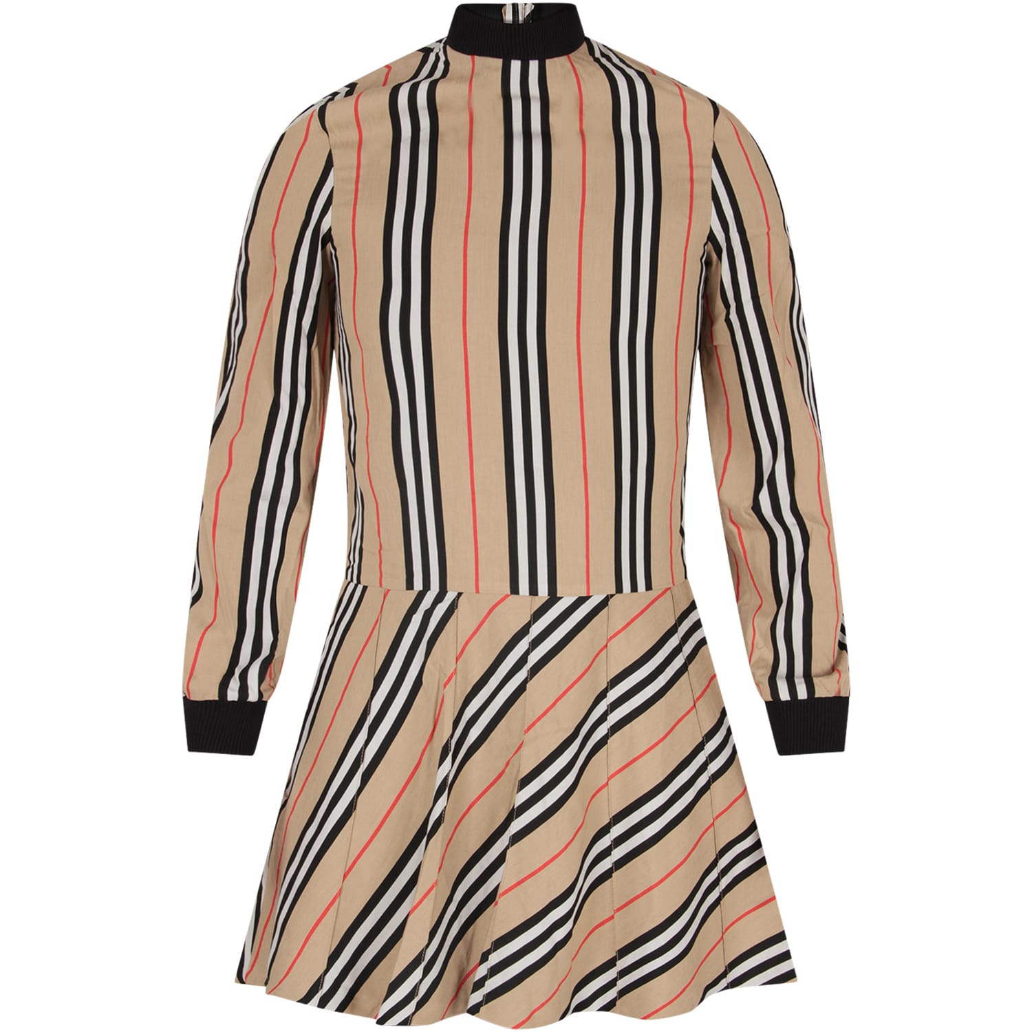 Burberry Beige Dress For Girl With Iconic Stripes