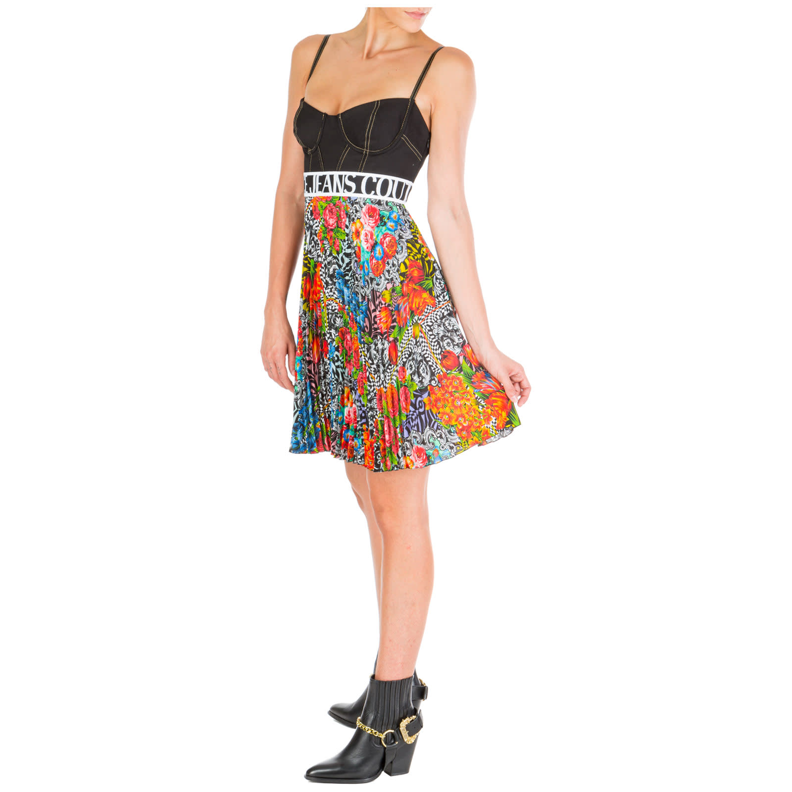 Versace Jeans Couture Short Mini Dress Sleeveless Optical Flowers