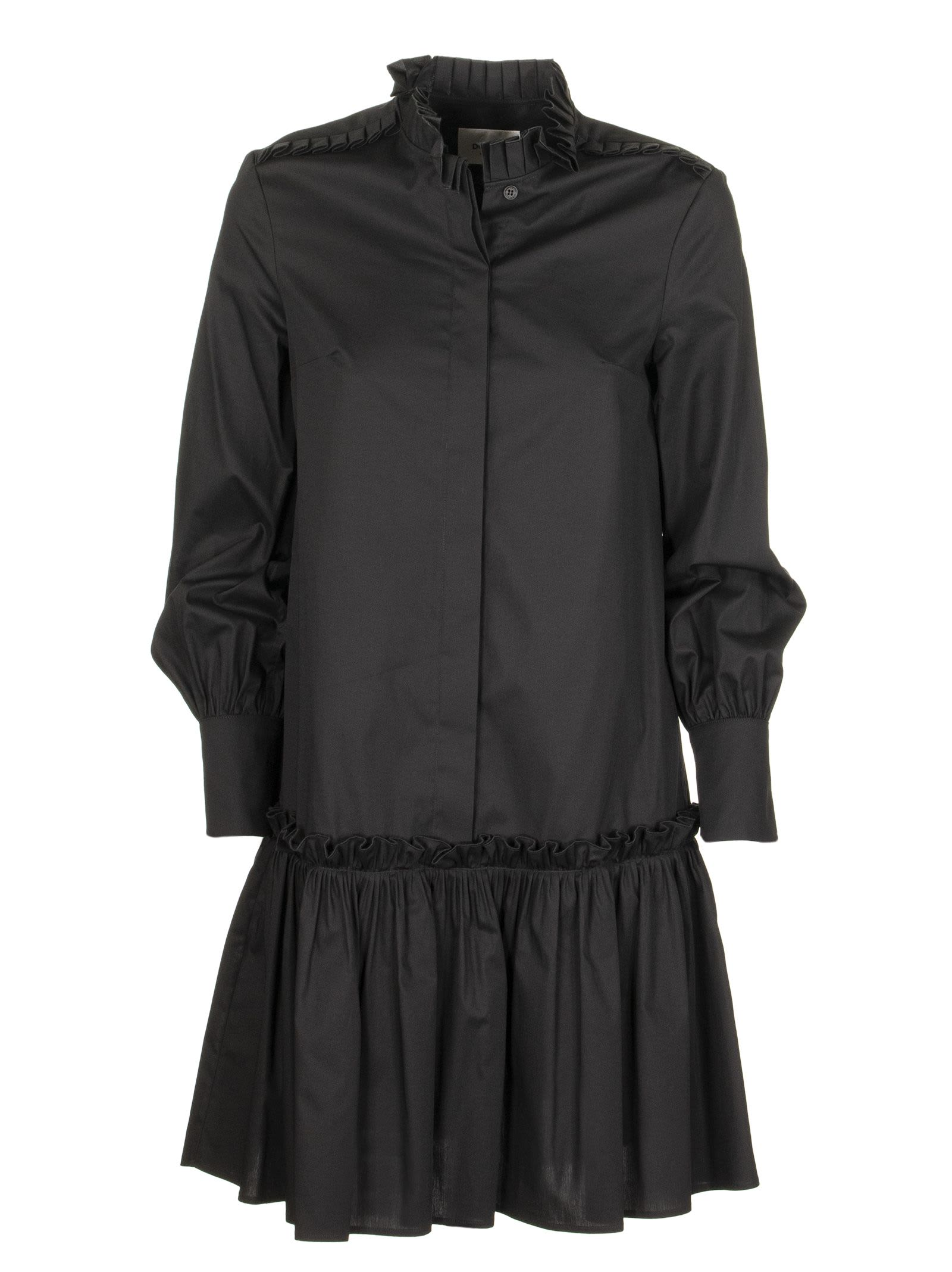 Buy Dondup Long-sleeved Dress With Pleated Collar online, shop Dondup with free shipping