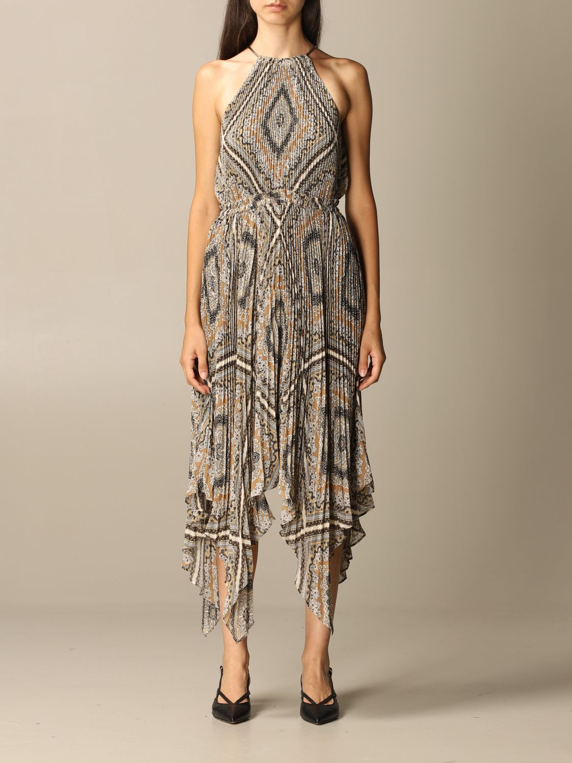 Michael Michael Kors Dress Michael Michael Kors Long Pleated Dress With Pattern