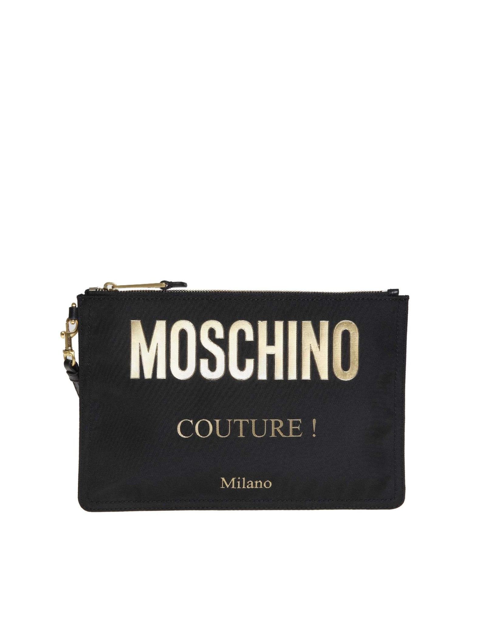 Moschino Clutch In Black Nylon