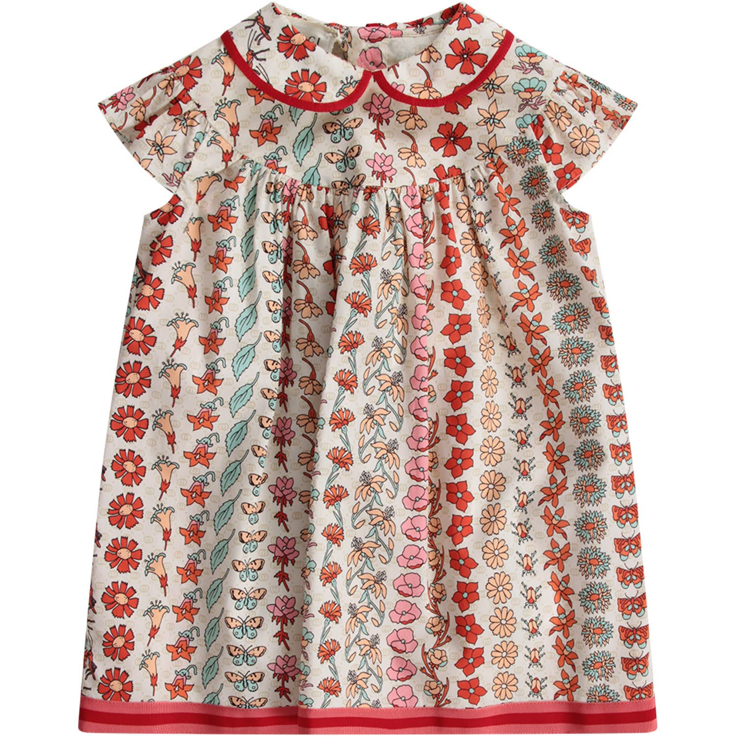 Buy Gucci Ivory Babygirl Dress With Double Gg And Flora Prints online, shop Gucci with free shipping