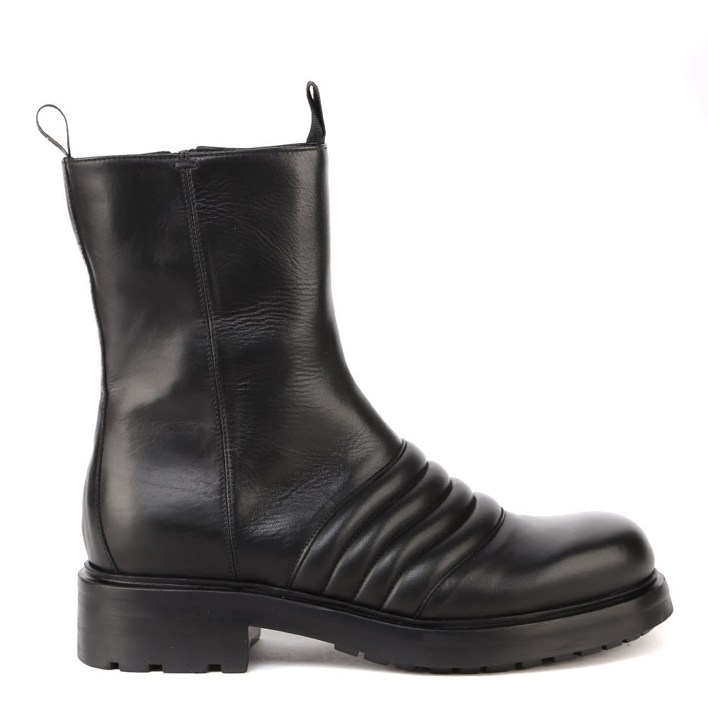 Smooth Leather Combat Boots With Quilted Details