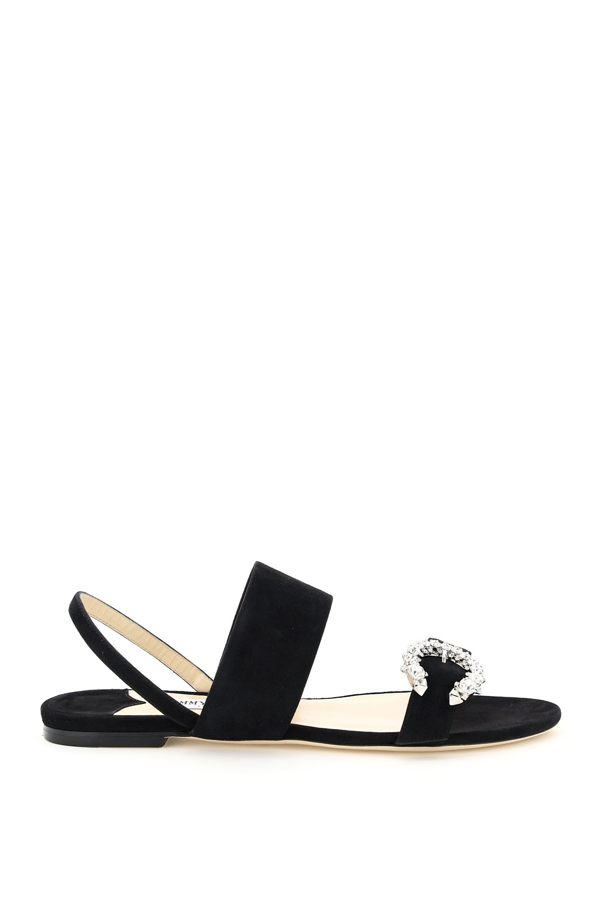 JIMMY CHOO SAPHERA FLAT SUEDE SANDALS WITH CRYSTAL BUCKLE