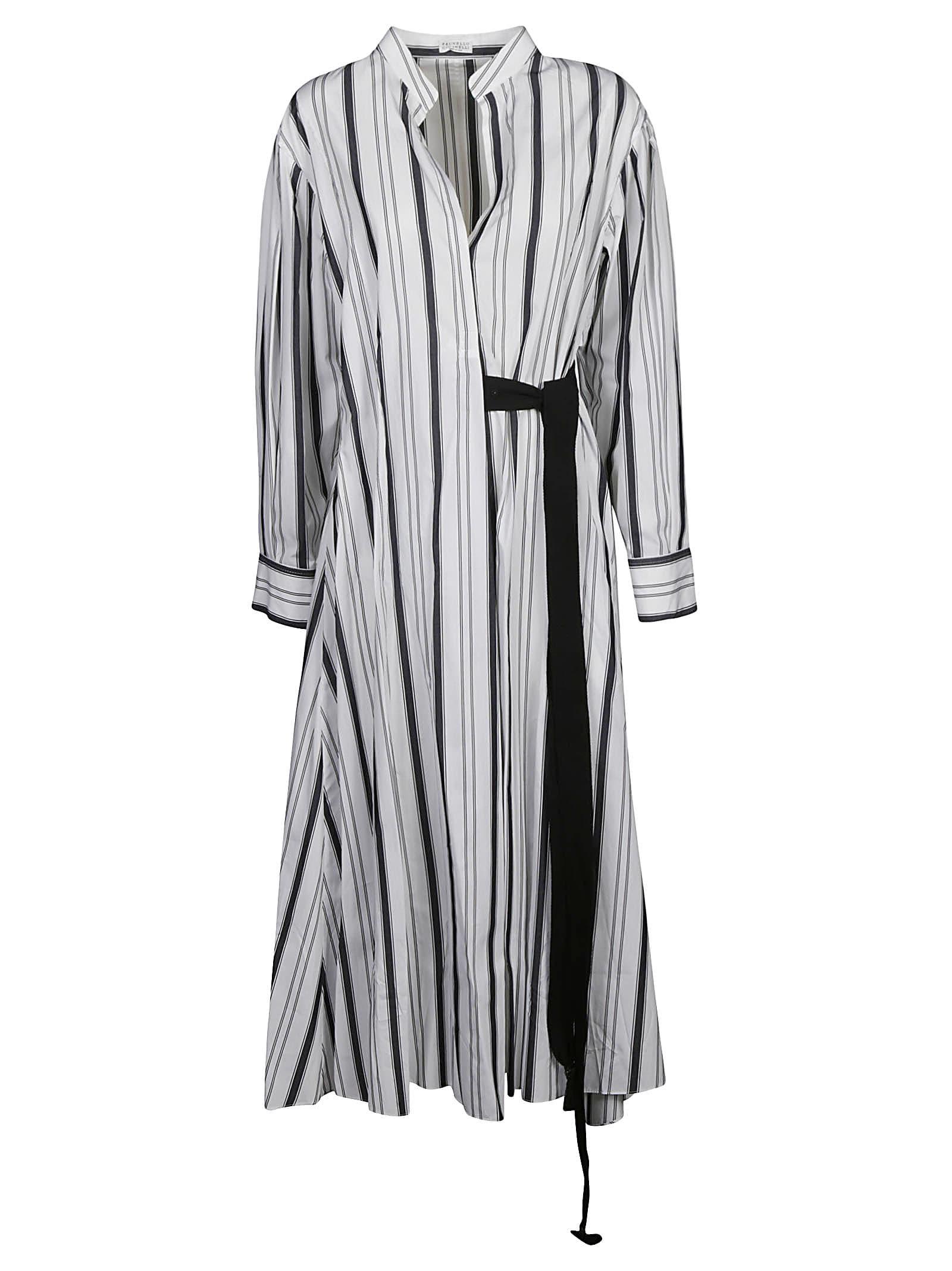 Buy Tie-waist Striped Dress online, shop Brunello Cucinelli with free shipping