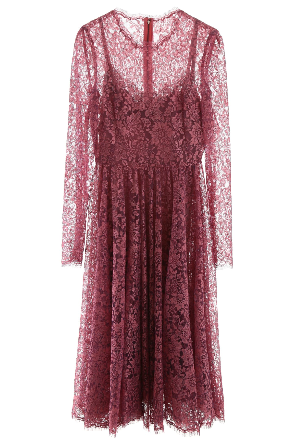 Buy Dolce & Gabbana Lame Lace Midi Dress online, shop Dolce & Gabbana with free shipping