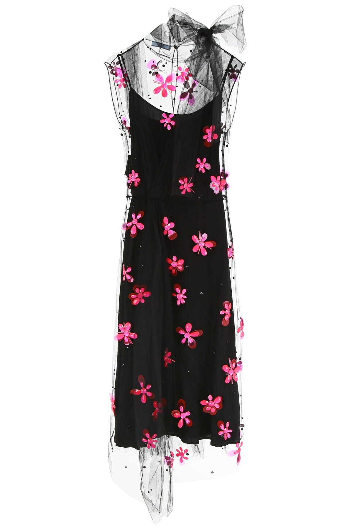 Buy Prada Embroidered Tulle Dress online, shop Prada with free shipping