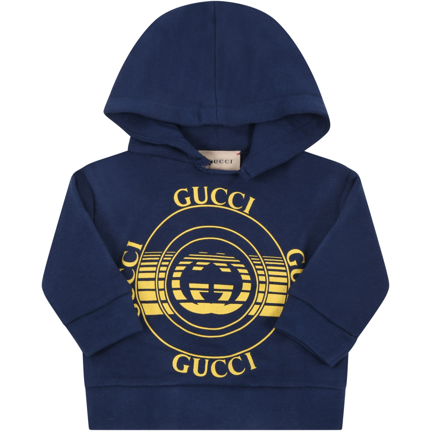 Gucci BLUE SWEATSHIRT FOR BABYKIDS WITH LOGOS