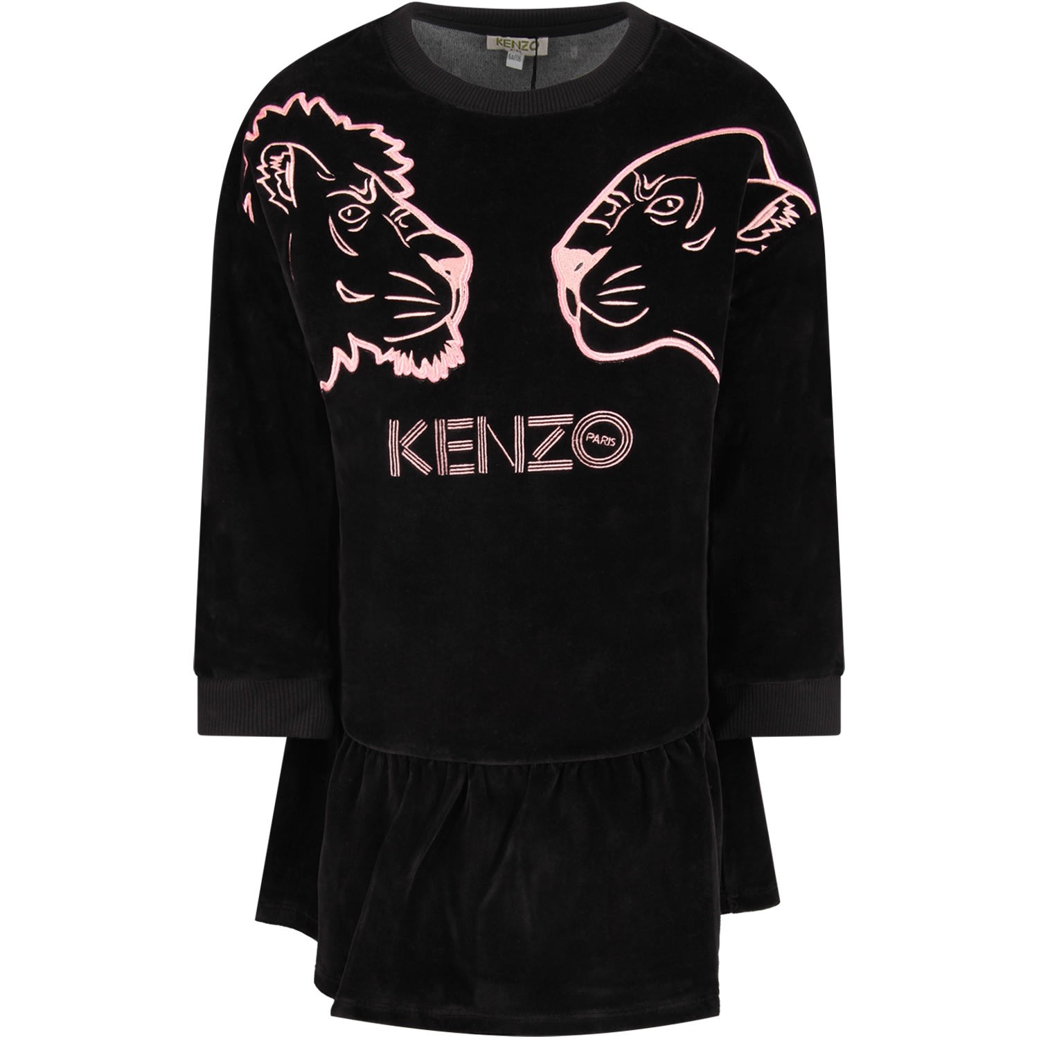 Kenzo Kids Black Girl Dress With Pink Iconic Tiger