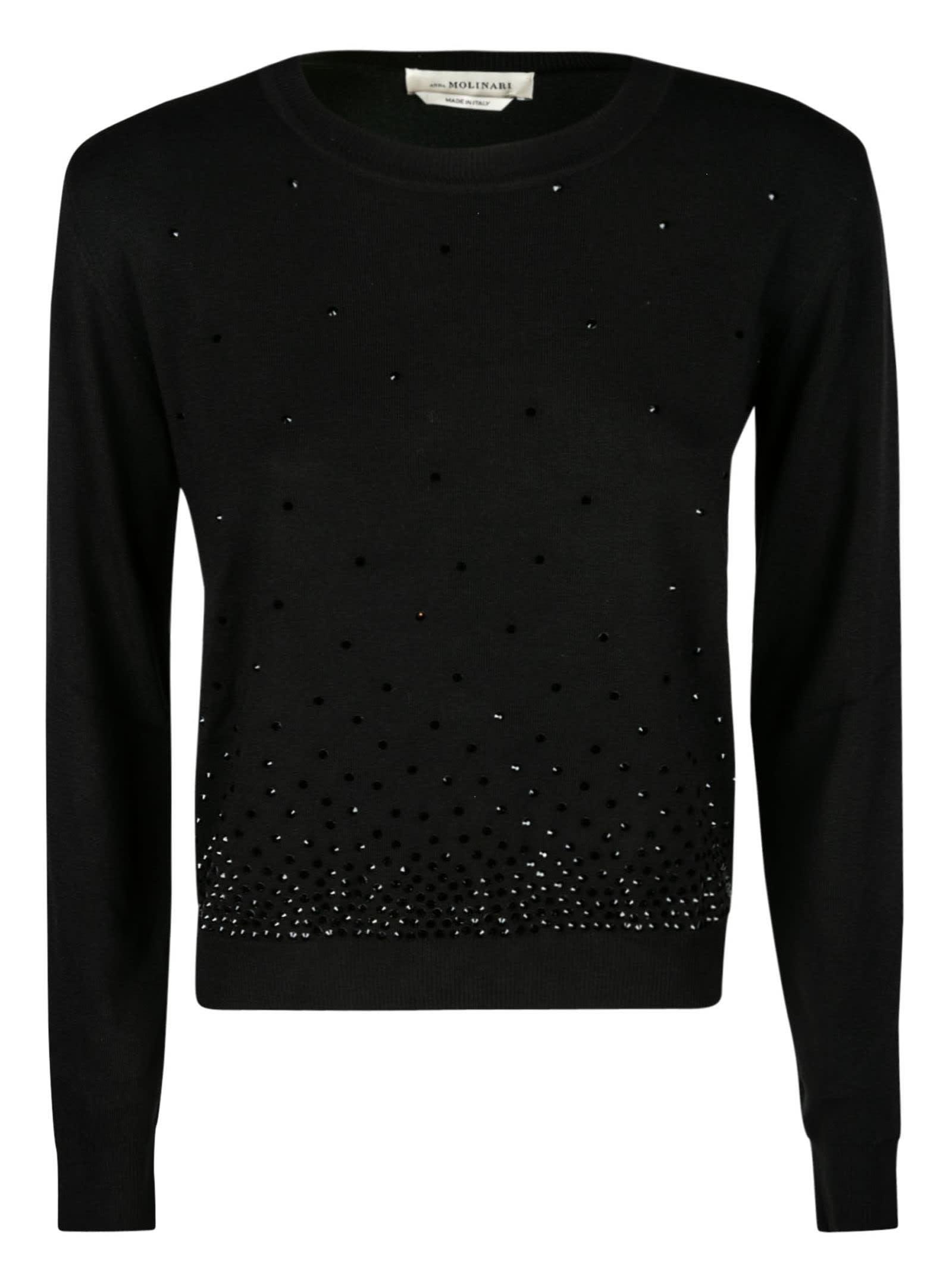 Bead Embellished Ribbed Sweater