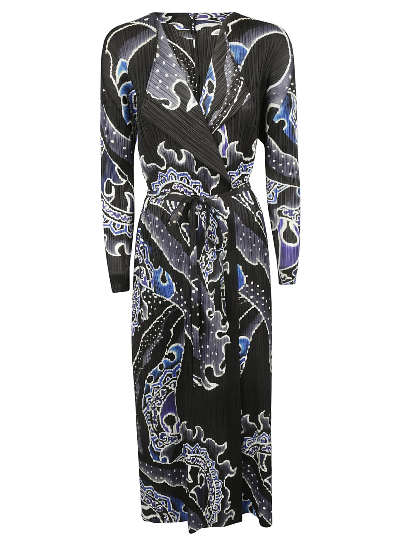Pleats Please Issey Miyake Printed Pleated Long Dress