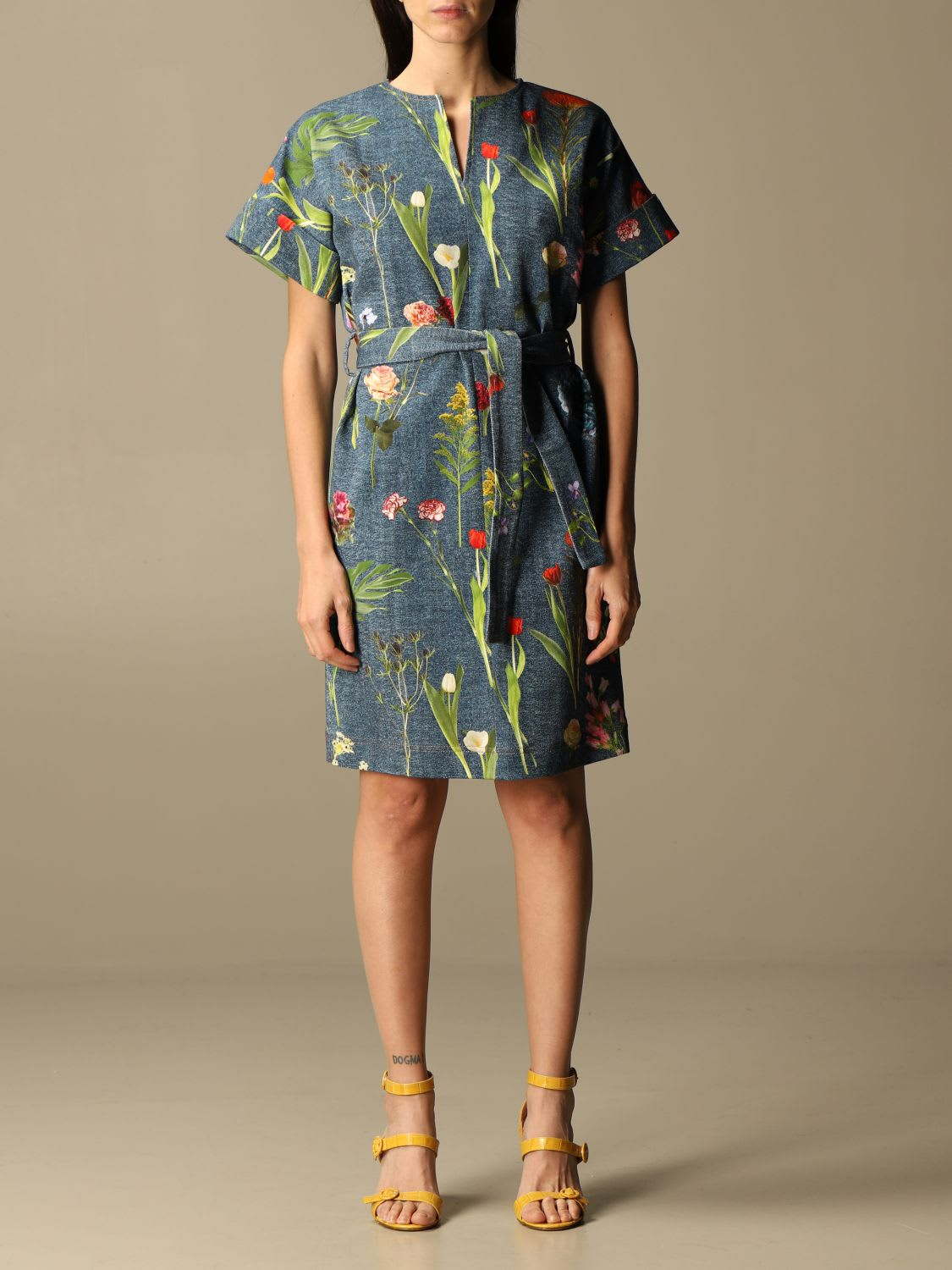 Boutique Moschino Dress Drill Boutique Moschino Short Dress With Botanical Pattern