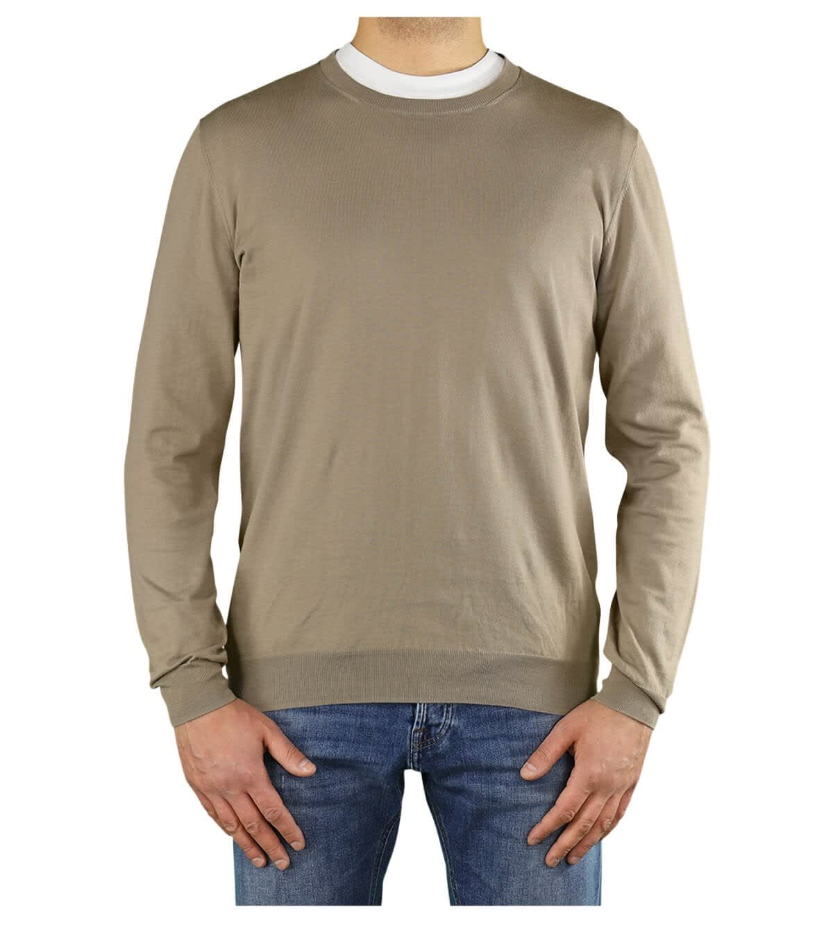Paolo Pecora Cottons LIGHT BROWN CREW NECK JUMPER