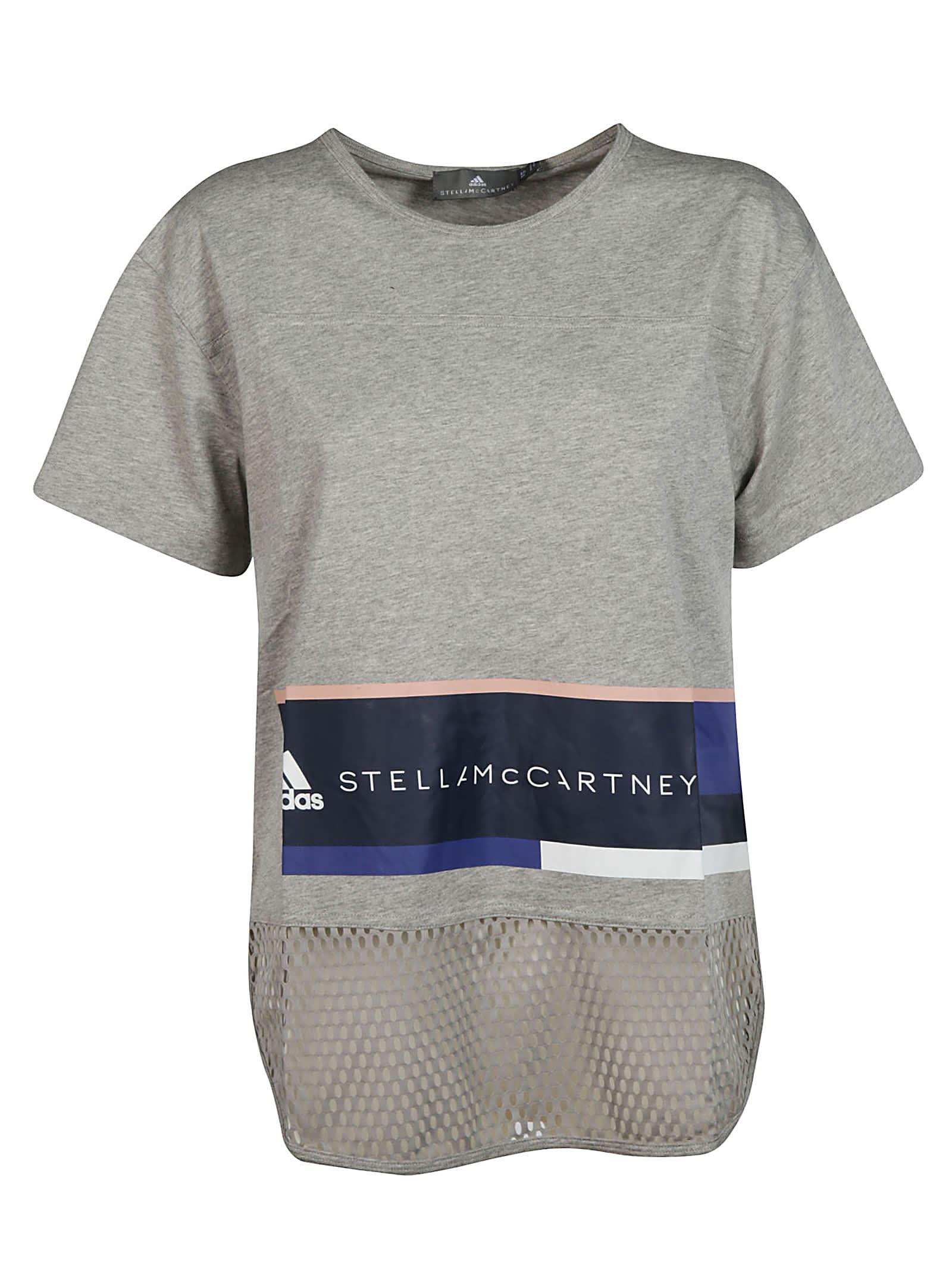 Adidas Logo Print Mesh Hem T-shirt